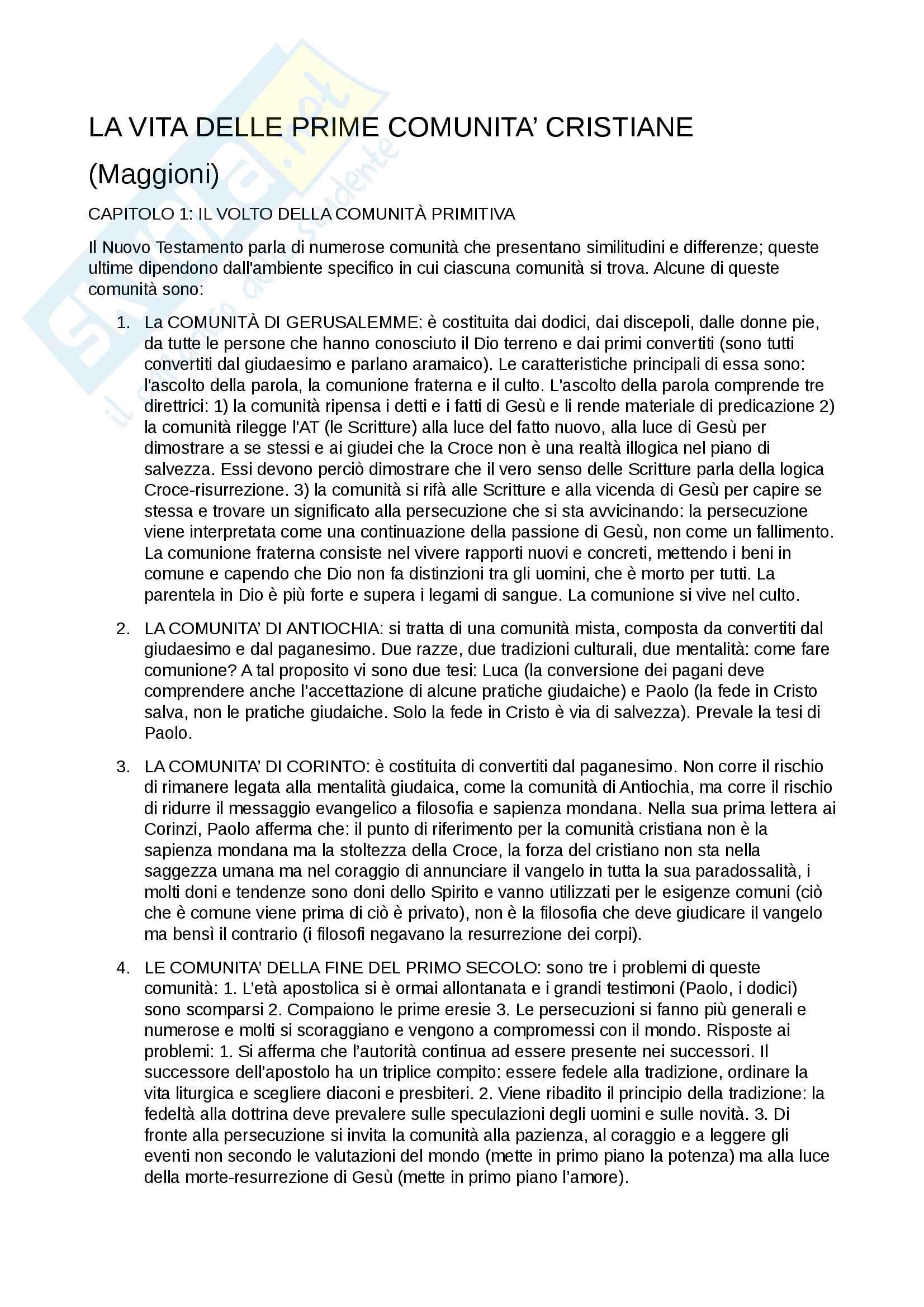 Riassunto esame teologia II, prof. Claudio Stercal, libro consigliato La vita delle prime comunità cristiane, 1992, B.Maggioni