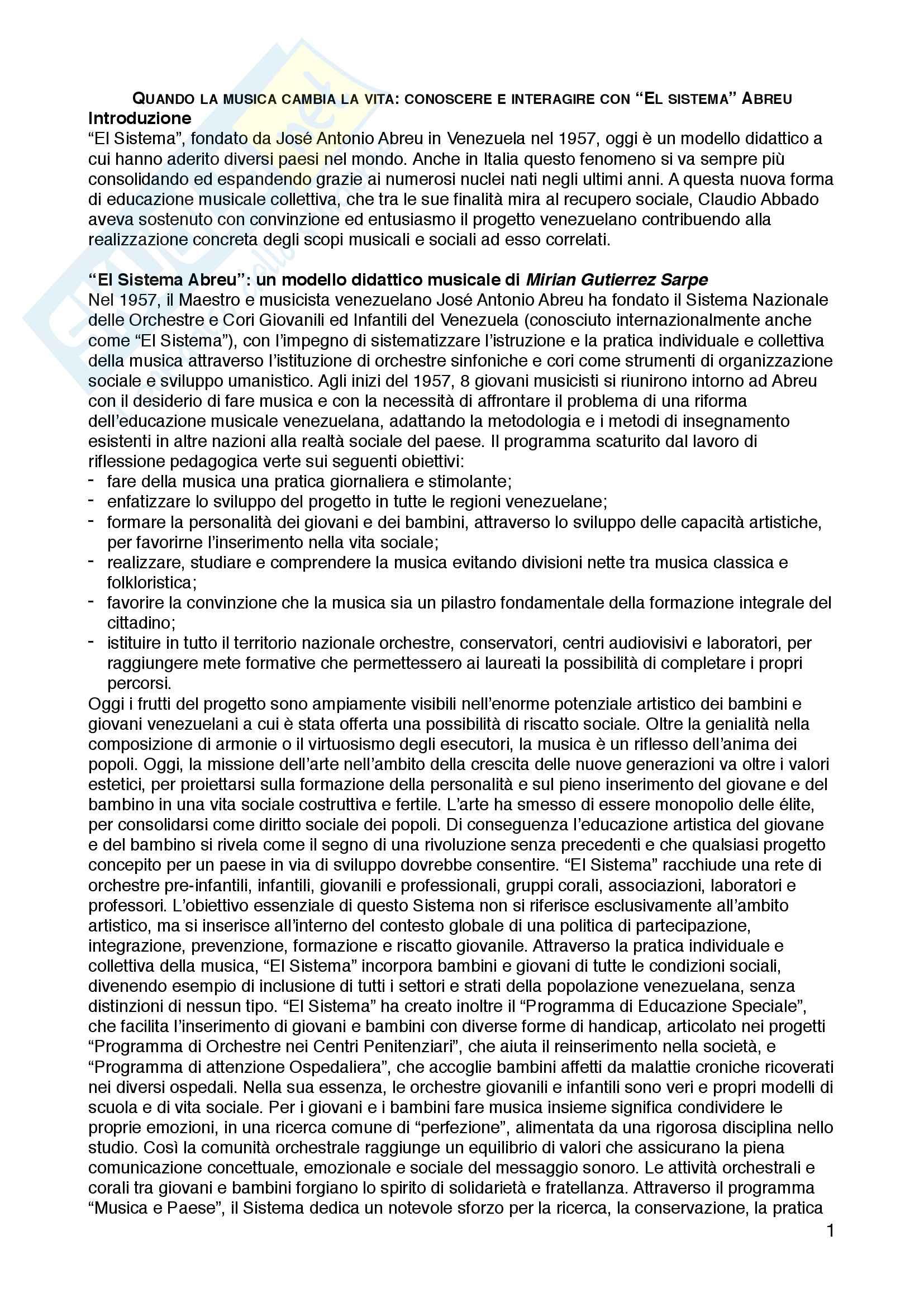 """Riassunto esame Musicologia e storia della musica, prof. Antonio Caroccia, libro consigliato """"Quando la musica cambia la vita: conoscere e interagire con """"El sistema"""" Abreu"""", Antonio Caroccia, Augusta Dall'Arche"""