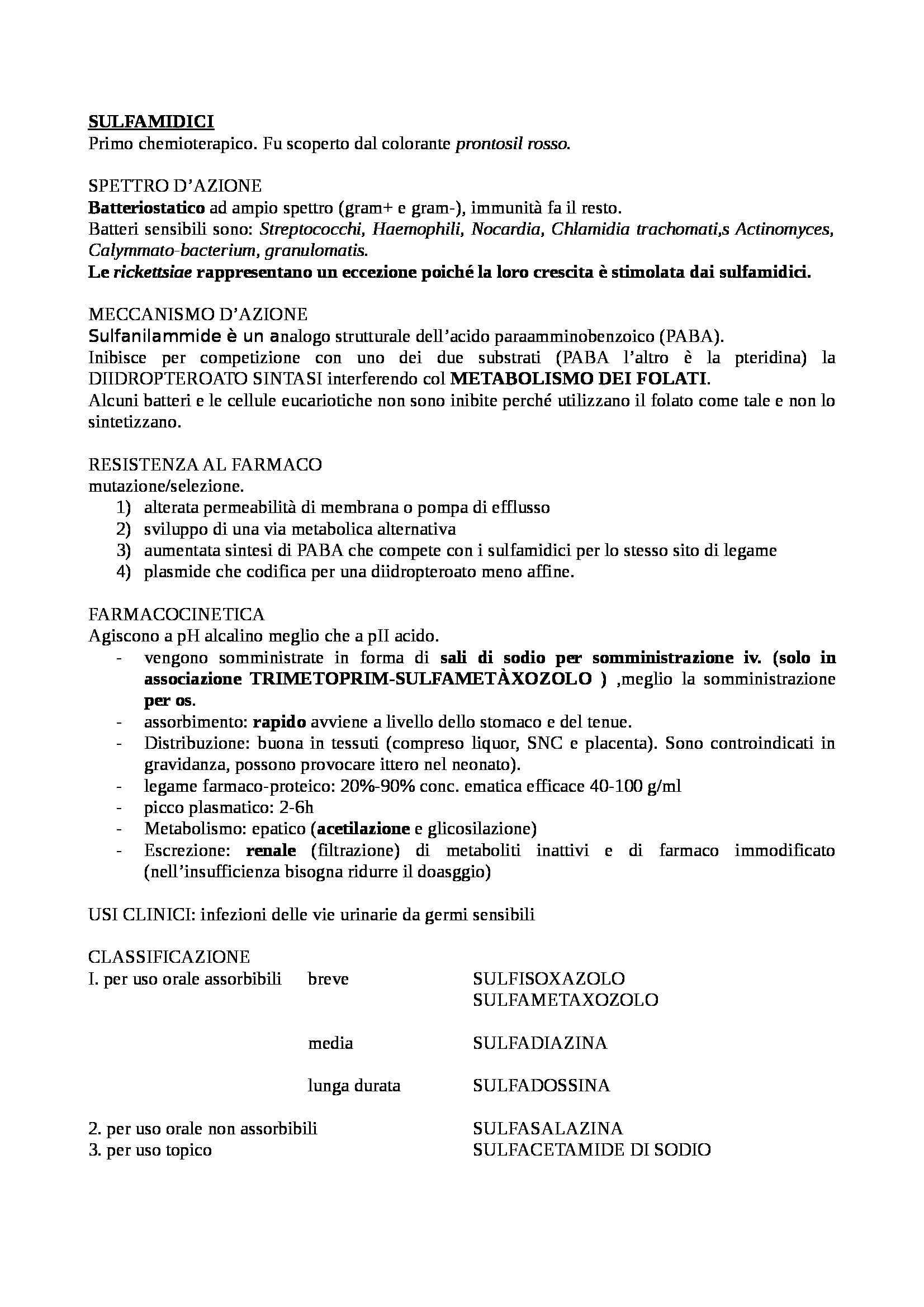Farmacologia e tossicologia - schema sui sulfamidici Trimetoprim