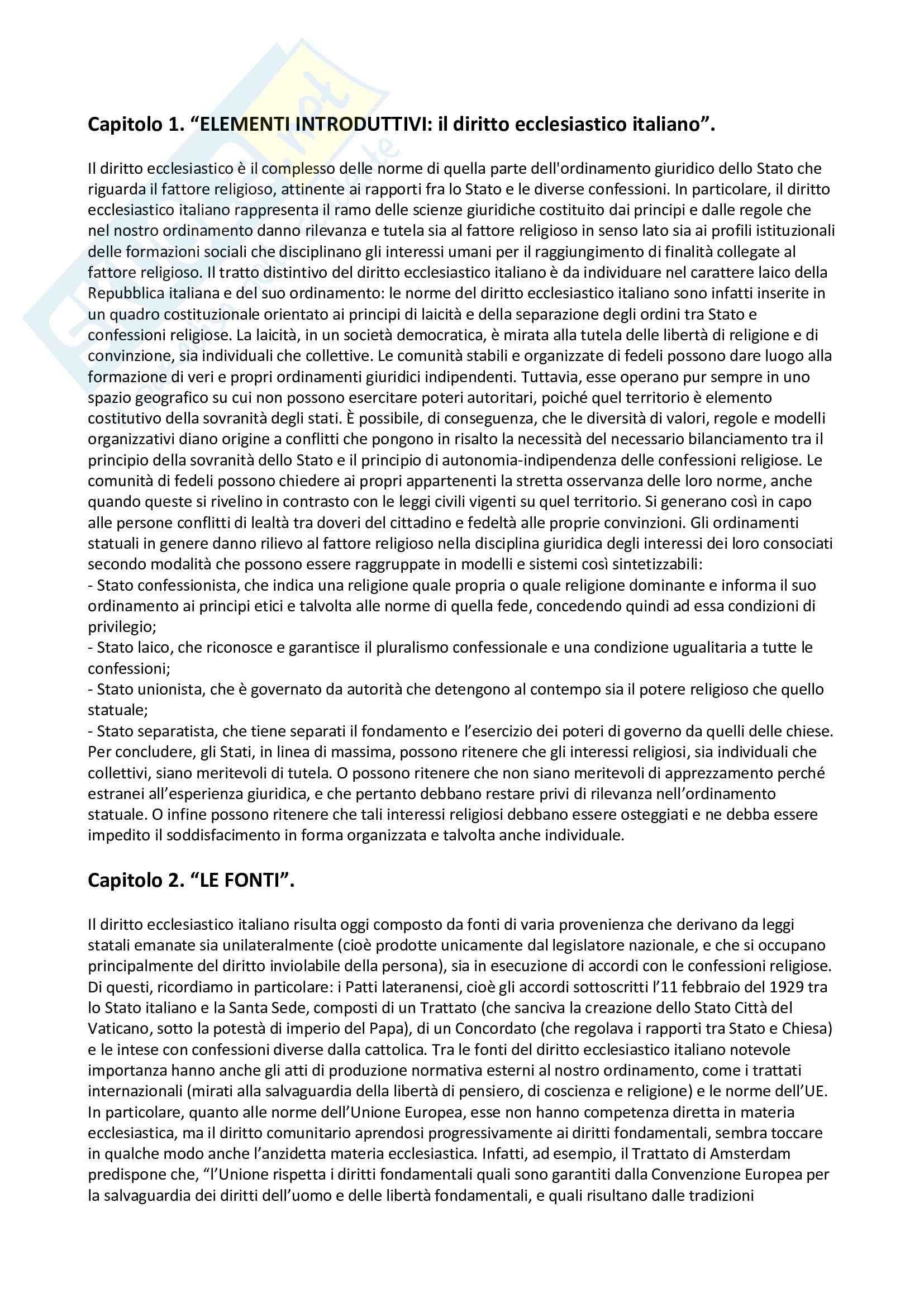Riassunto esame diritto ecclesiastico, prof. Mantineo, libro consigliato Nozioni di diritto ecclesiastico, Casuscelli Pag. 1