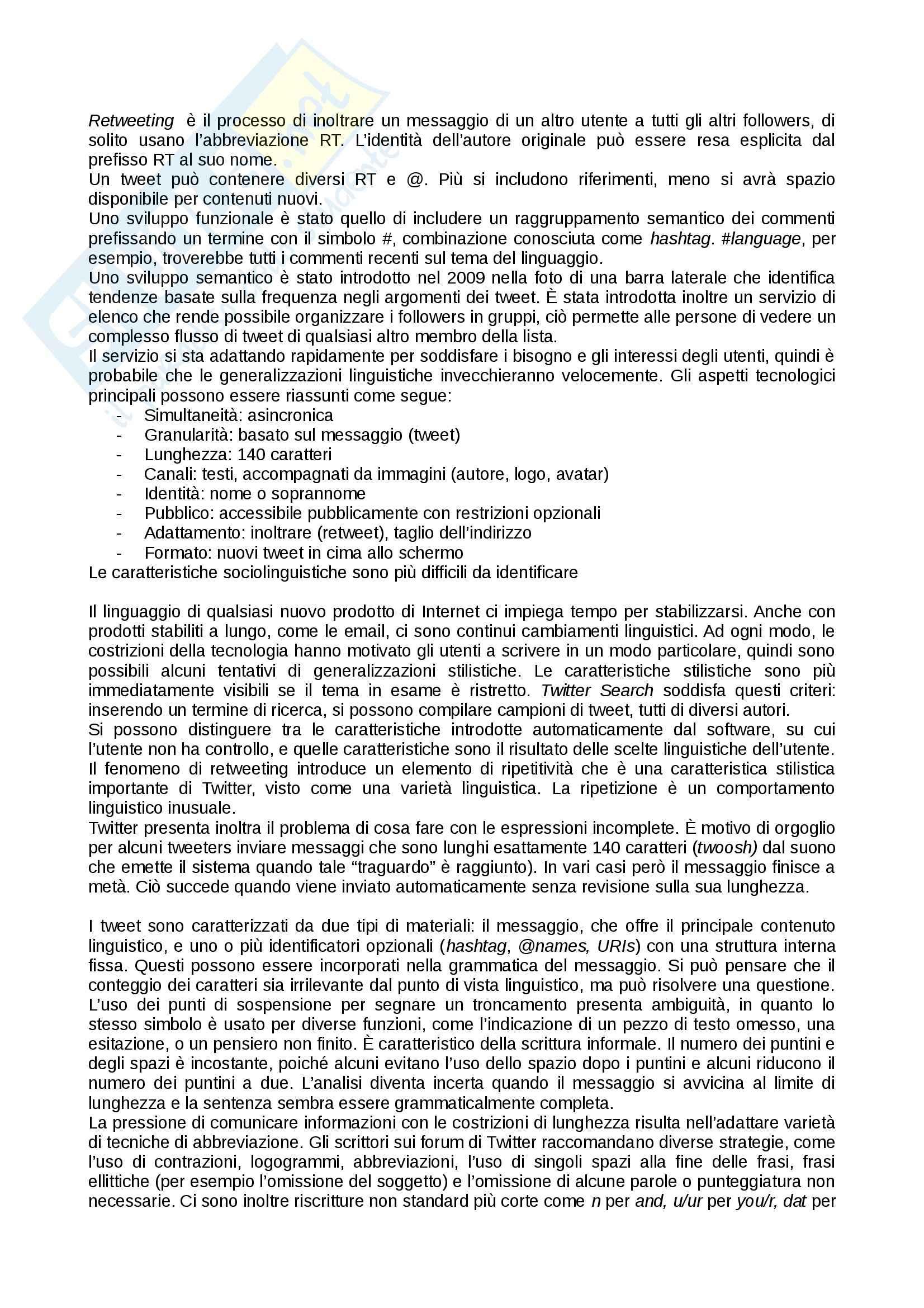 Linguistica di Internet, Lingua inglese Pag. 6