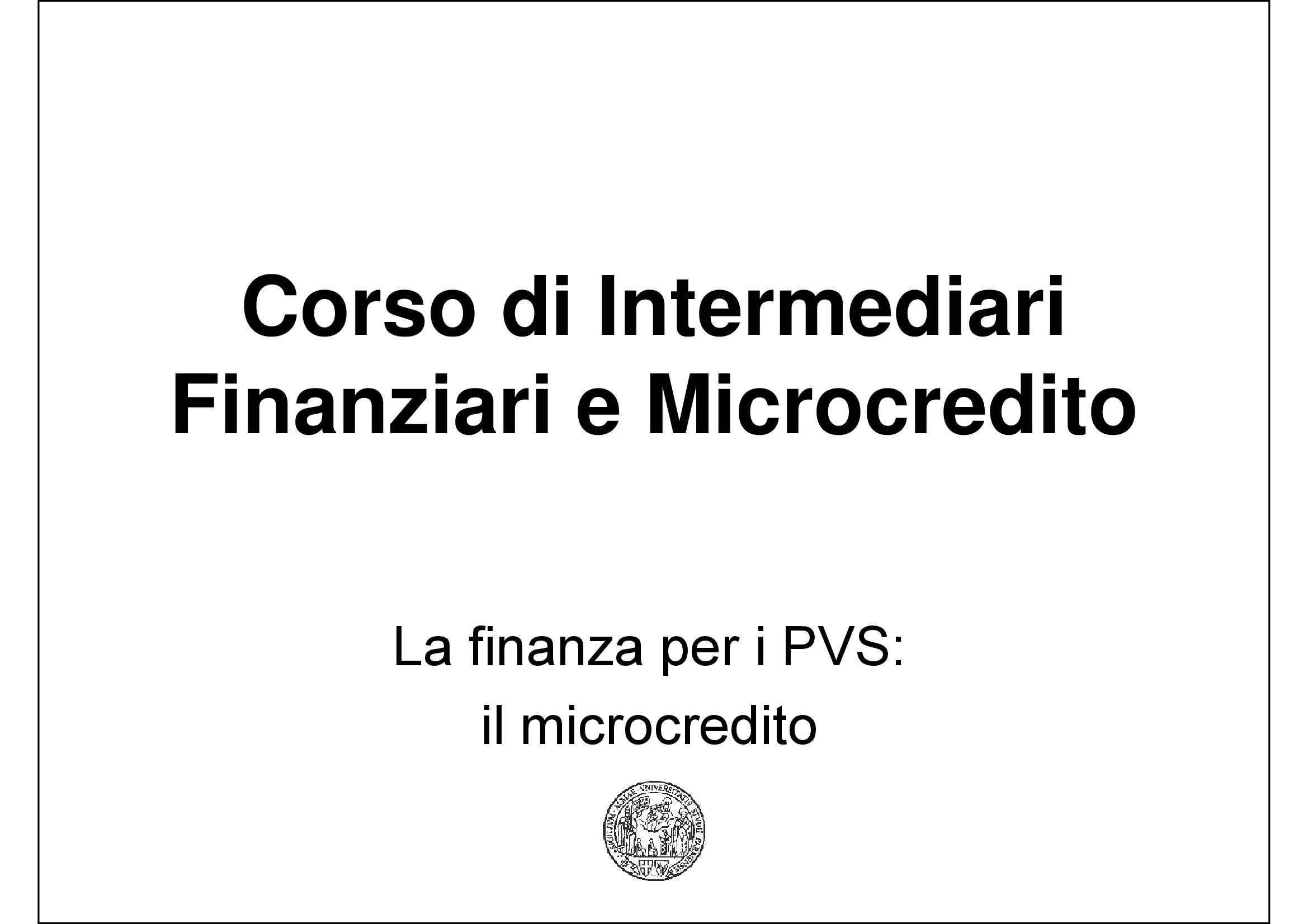 dispensa M. Regalli Intermediari finanziari e Microcredito