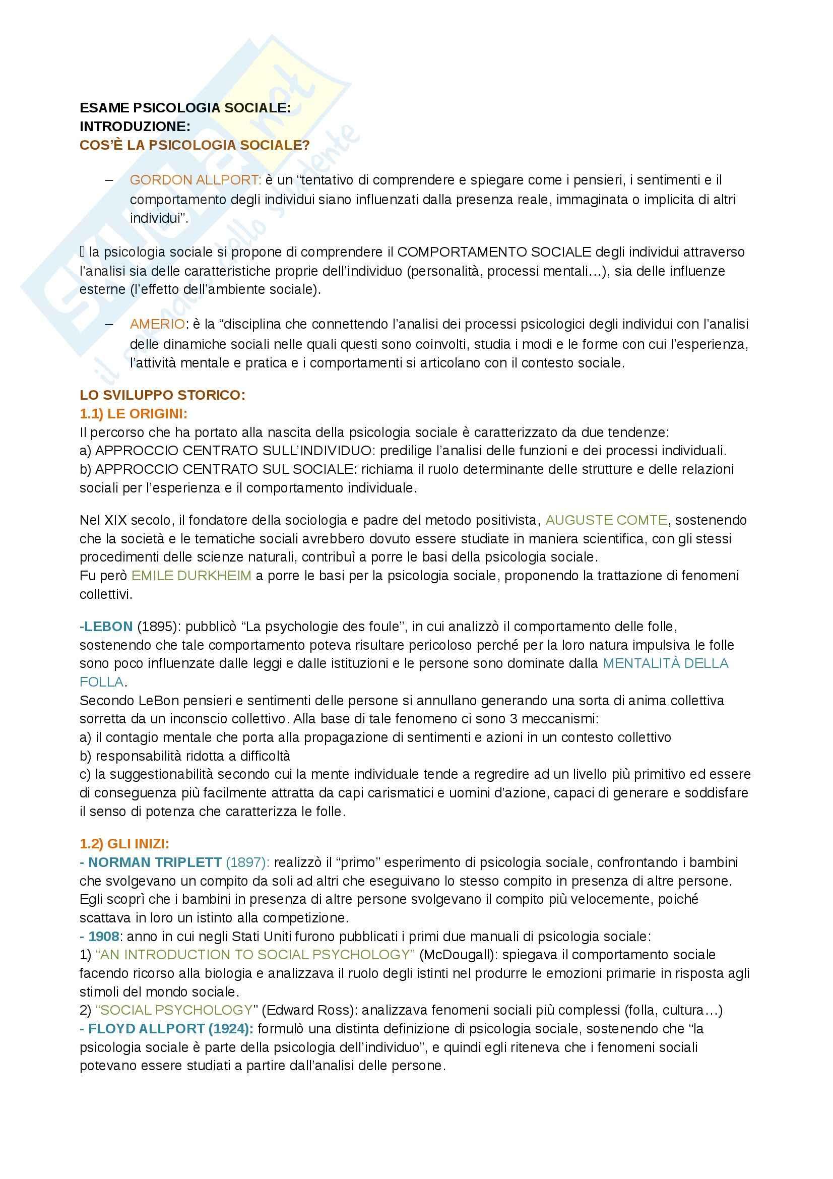 Riassunto esame  Psicologia sociale, prof. Camussi, libro consigliato Psicologia sociale, Crisp