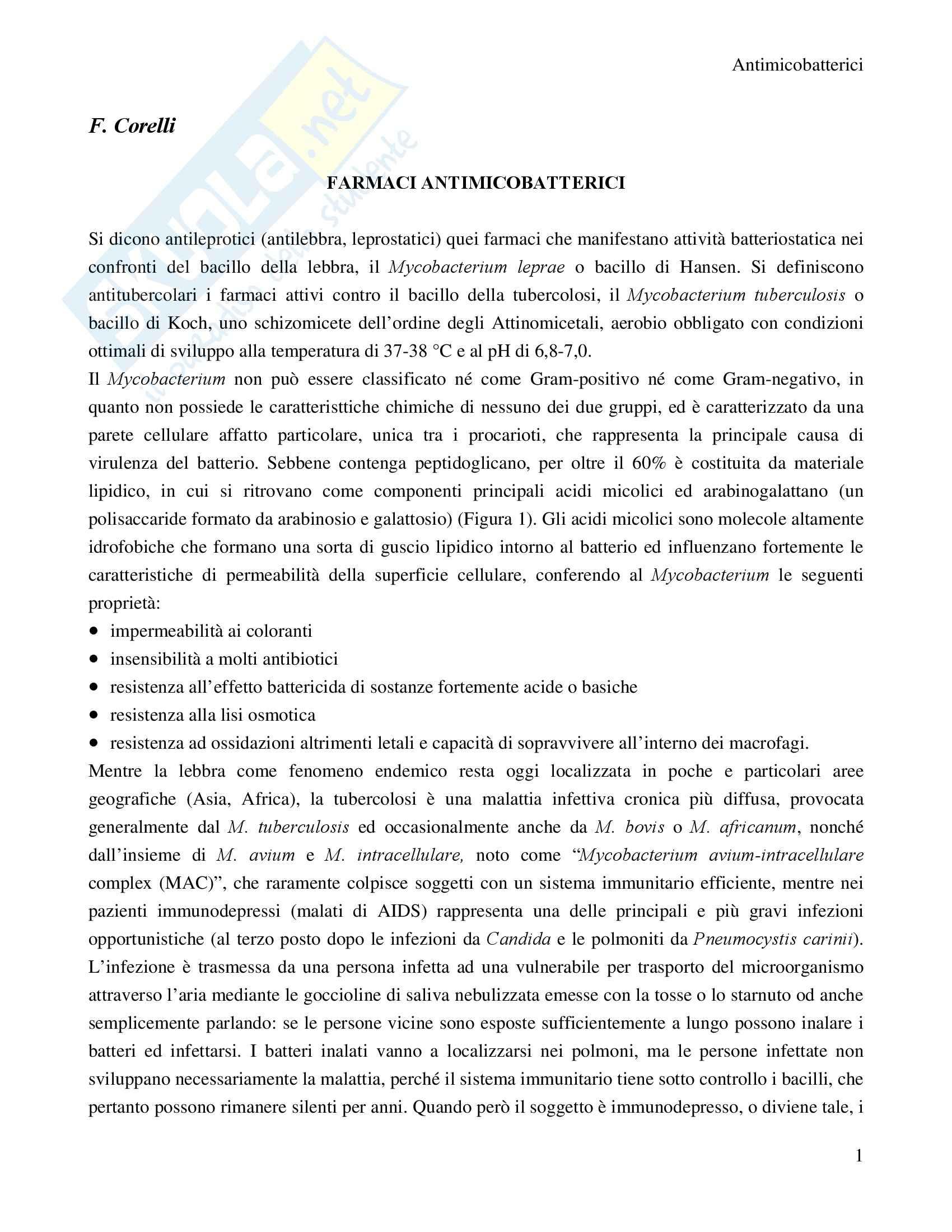 Chimica farmaceutica - farmaci antimicobatterici