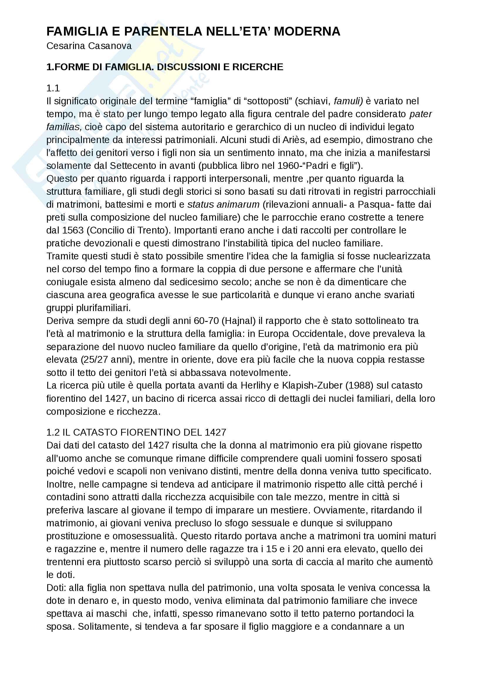 "Riassunto esame di Storia moderna, prof. Marina Cavallera, libro consigliato ""Famiglia e parentela nell'età moderna"", Cesarina Casanova"