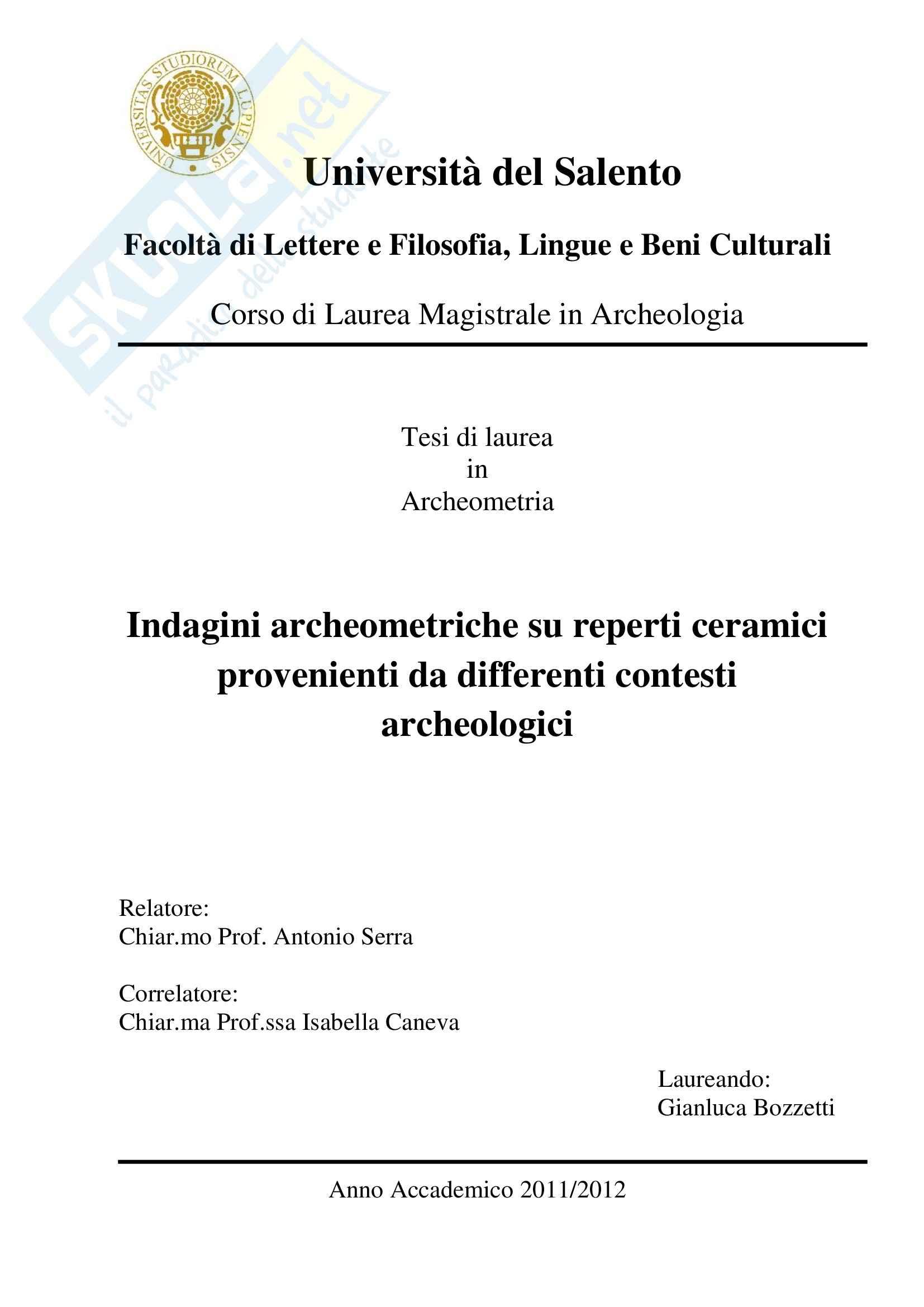 Indagini archeometriche su reperti ceramici provenienti da differenti contesti archeologici, Tesi Mag. Archeometria