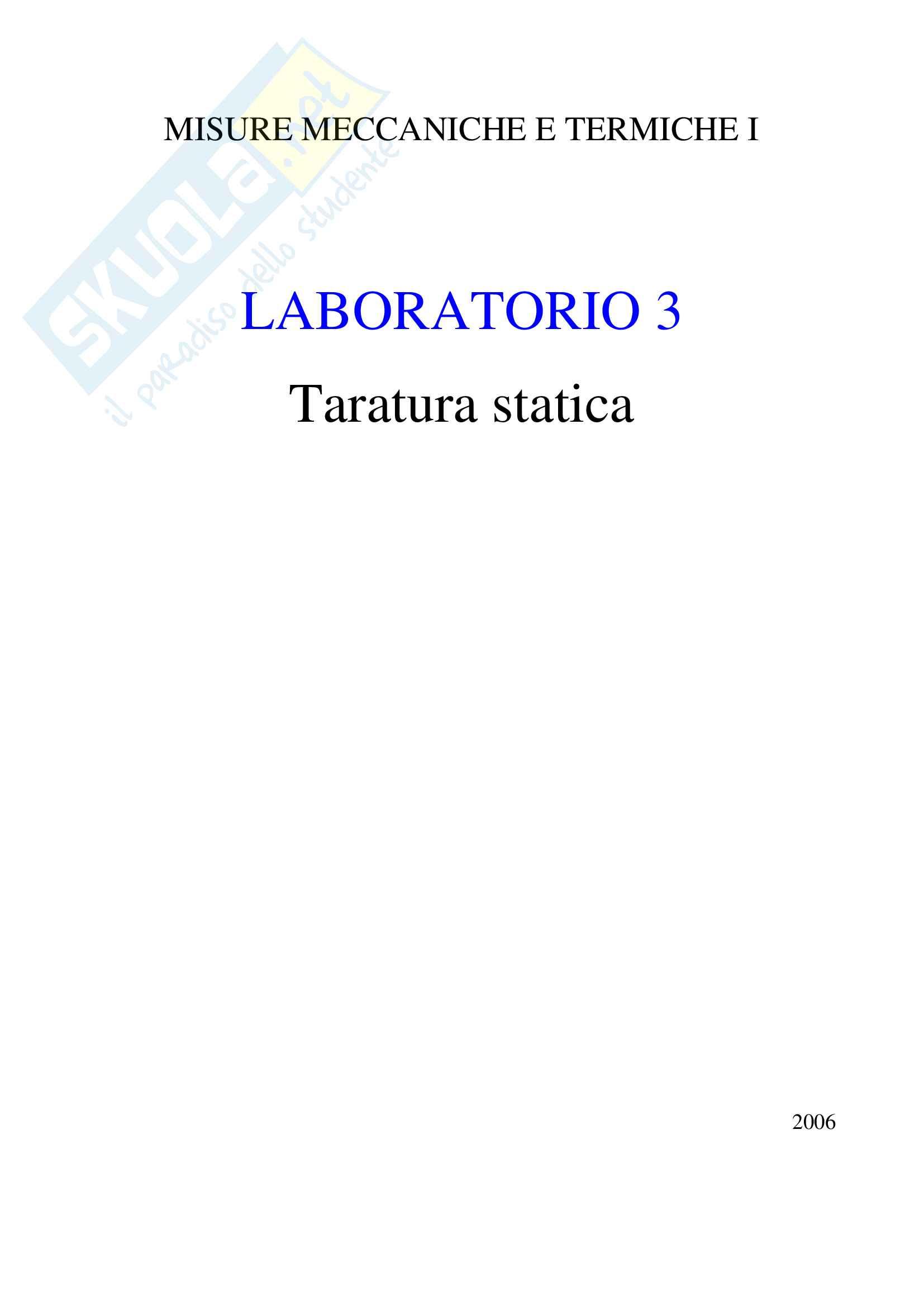 Taratura Statica: determinazione della curva di taratura dello strumento (potenziometro)
