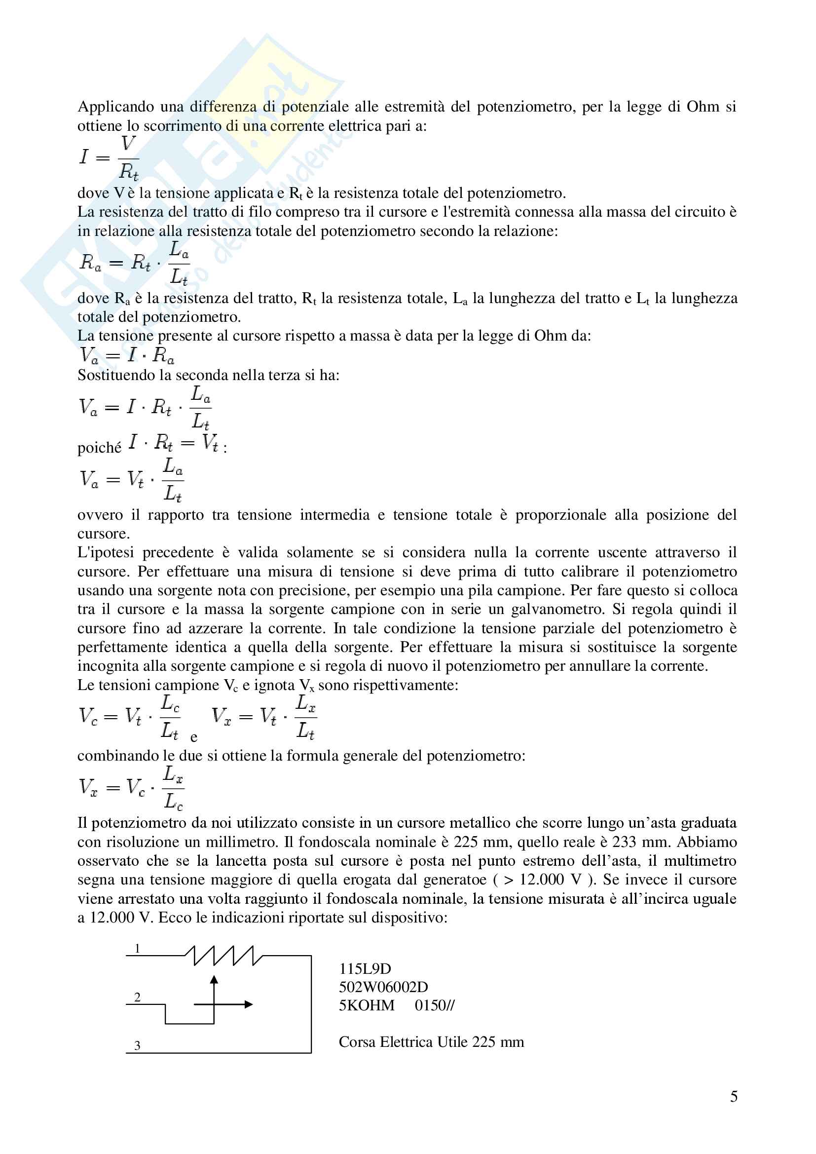 Taratura Statica: determinazione della curva di taratura dello strumento (potenziometro) Pag. 6