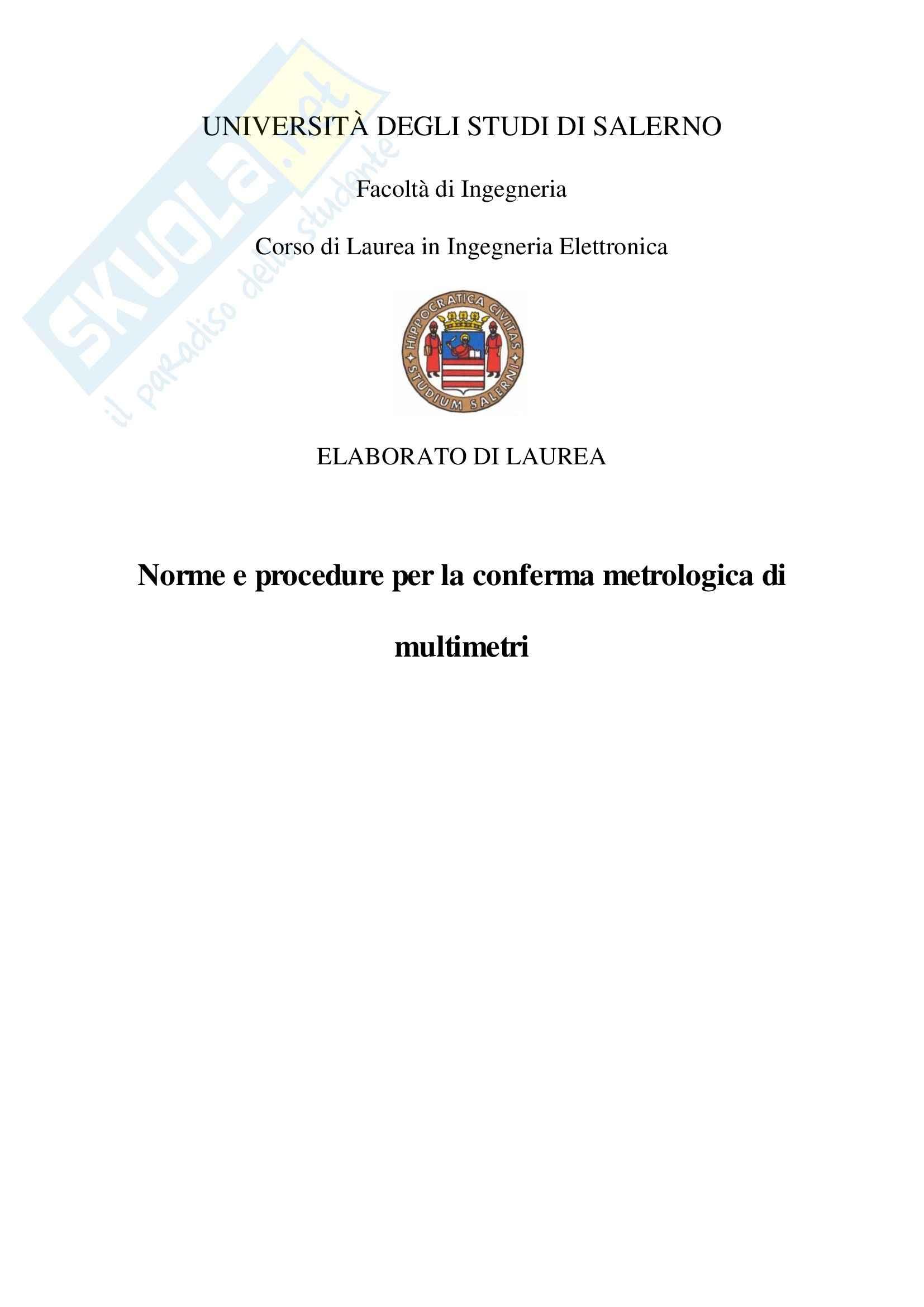 Tesi sperimentale Misure Elettroniche - Conferma metrologica Multimetro