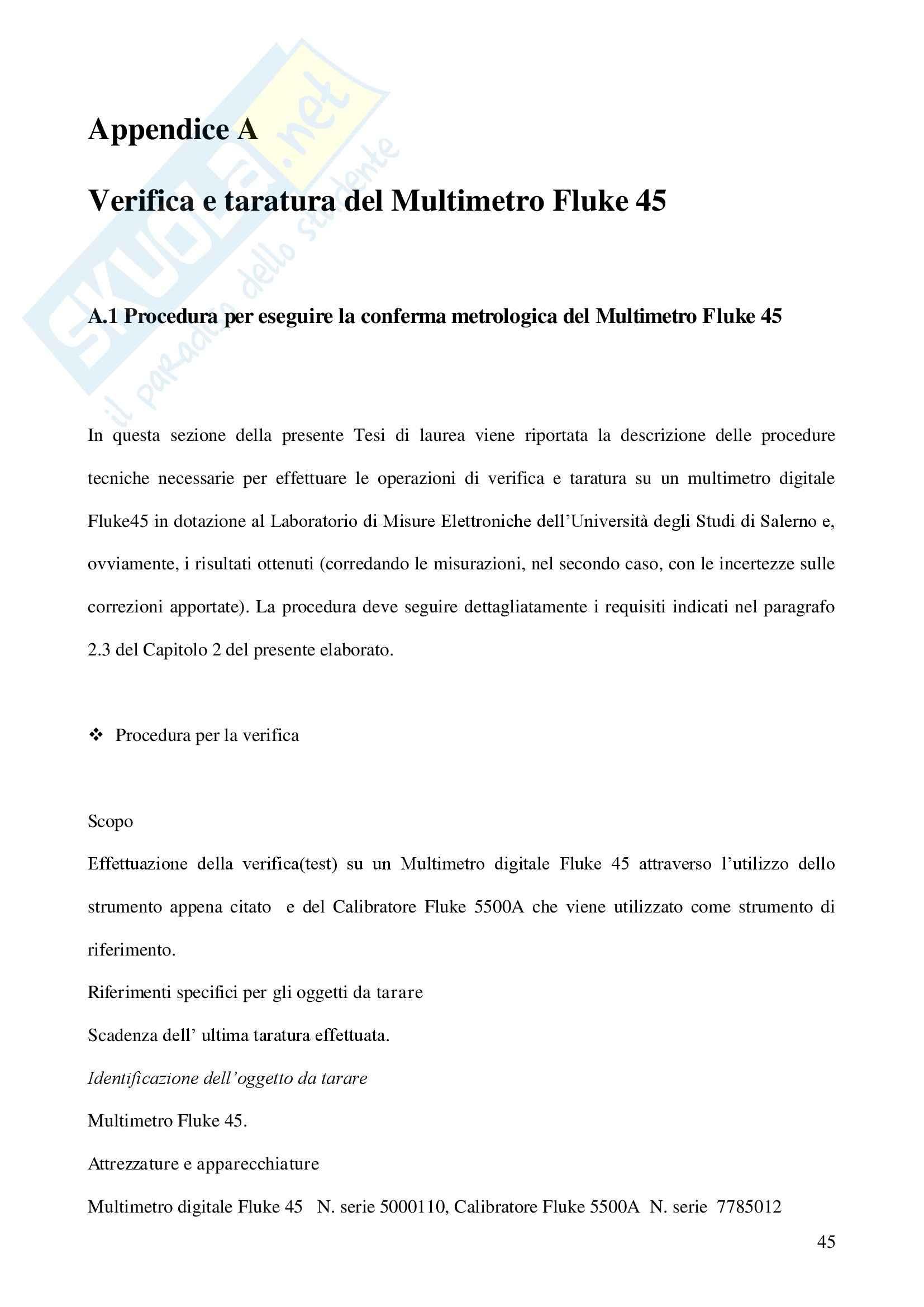 Tesi sperimentale Misure Elettroniche - Conferma metrologica Multimetro Pag. 46