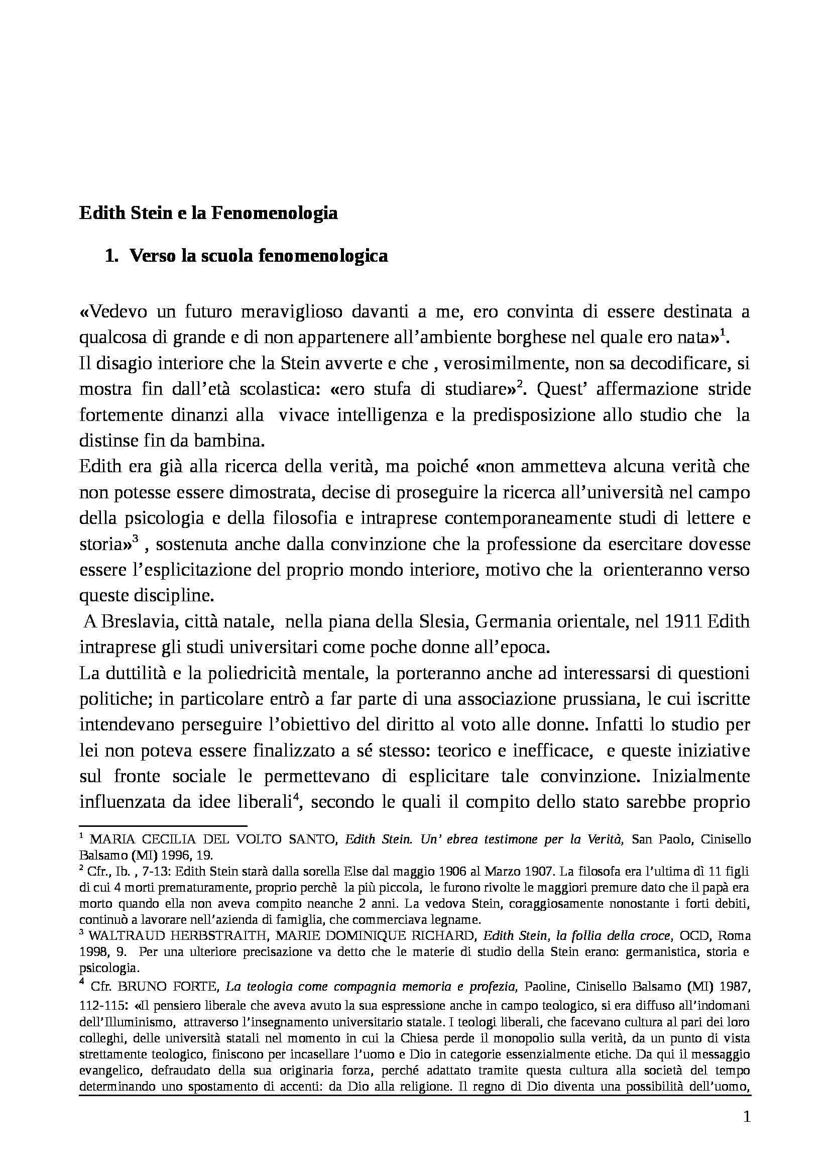 Storia della filosofia moderna e contemporanea - Edith Stein e la fenomenologia