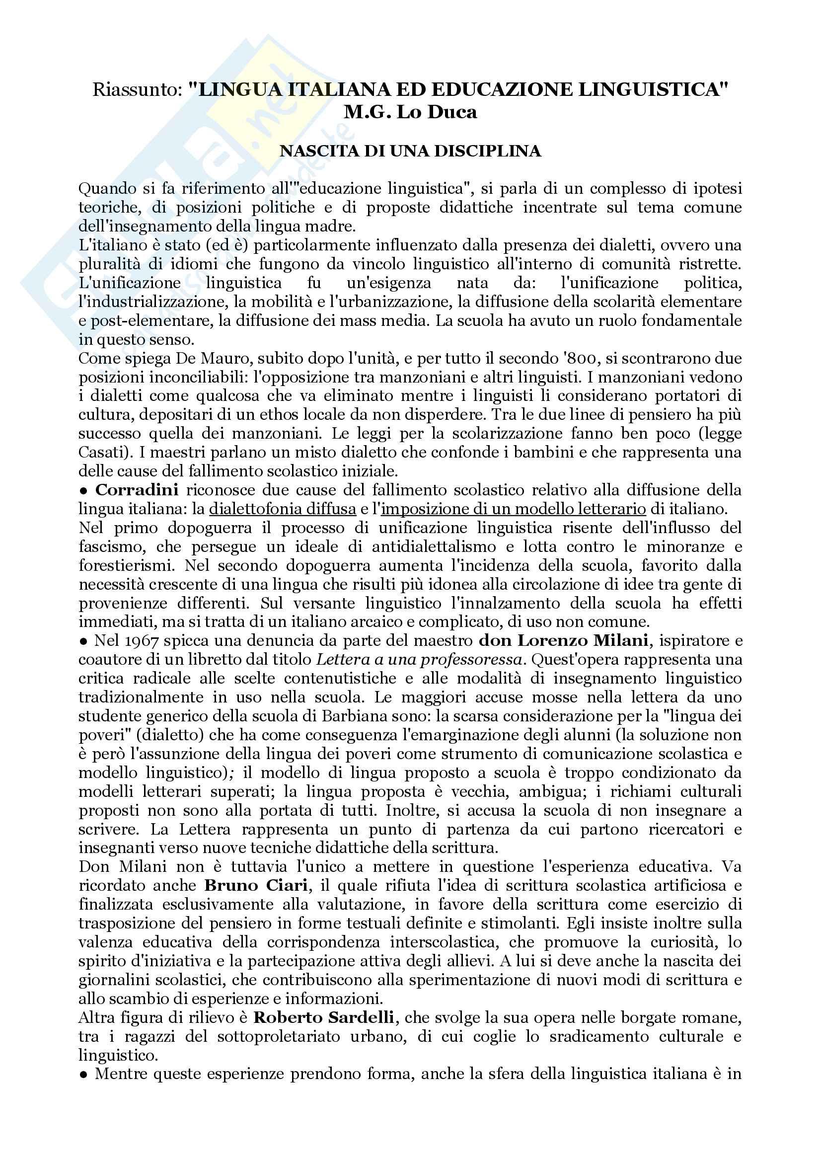 """Riassunto per l'esame di Didattica delle Lingue Moderne, prof. Piemontese, libro consigliato """"Lingua italiana ed educazione linguistica"""", M.G. Lo Duca"""
