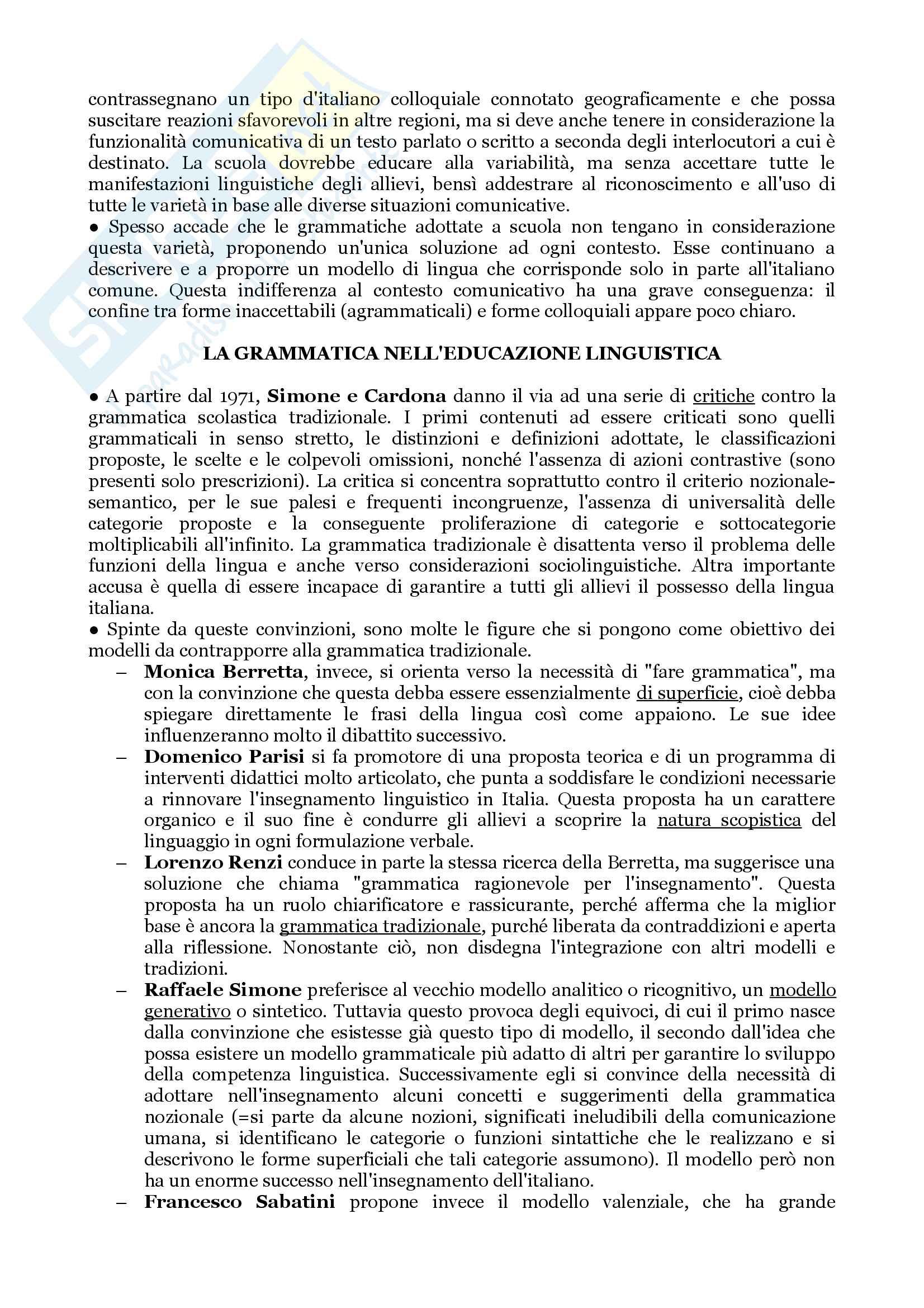 """Riassunto per l'esame di Didattica delle Lingue Moderne, prof. Piemontese, libro consigliato """"Lingua italiana ed educazione linguistica"""", M.G. Lo Duca Pag. 6"""