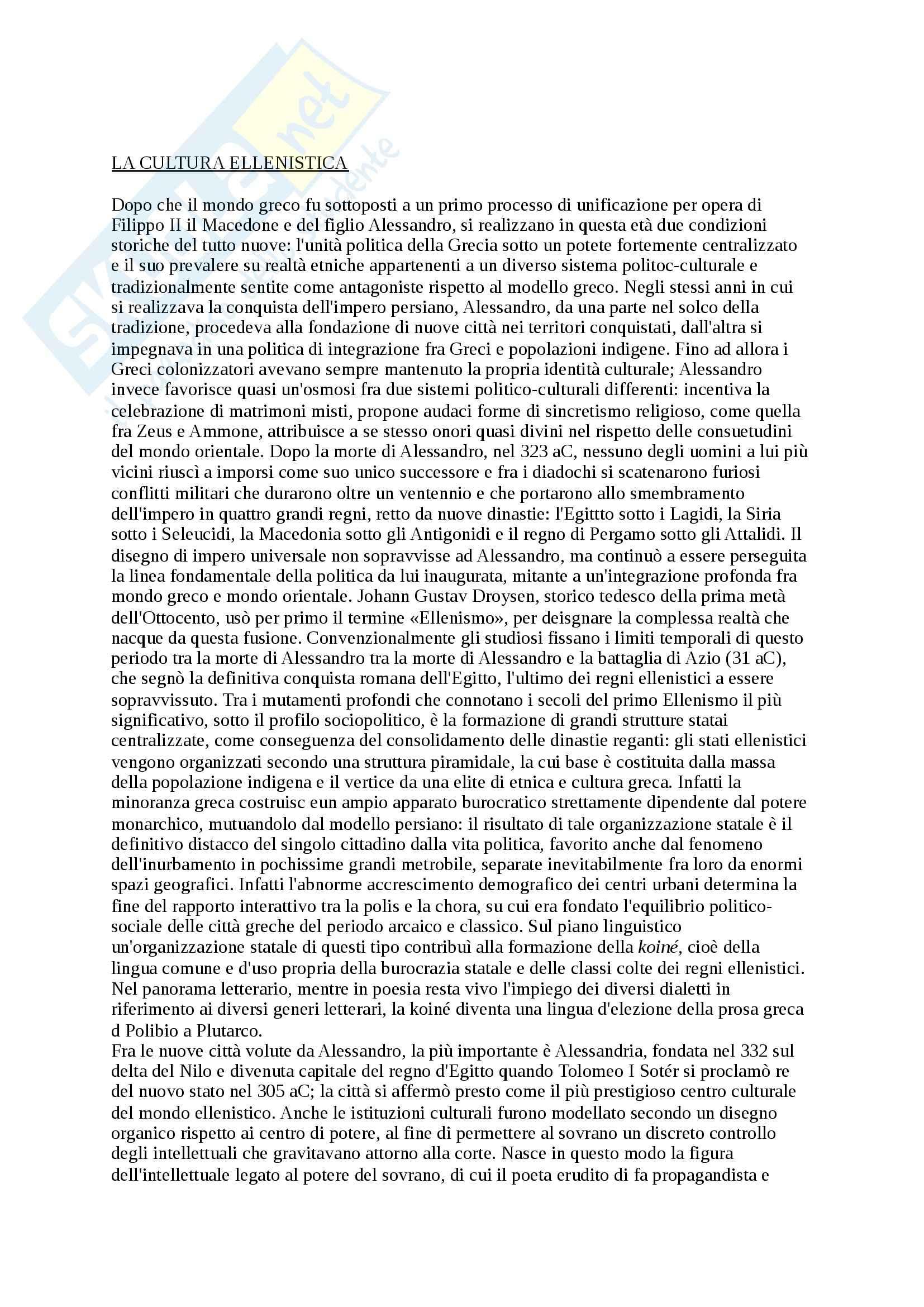 Riassunto esame Letteratura Greca, prof. Cozzoli, libro consigliato Storia e forme della letteratura greca Età ellenistica, Privitera Pretagostini