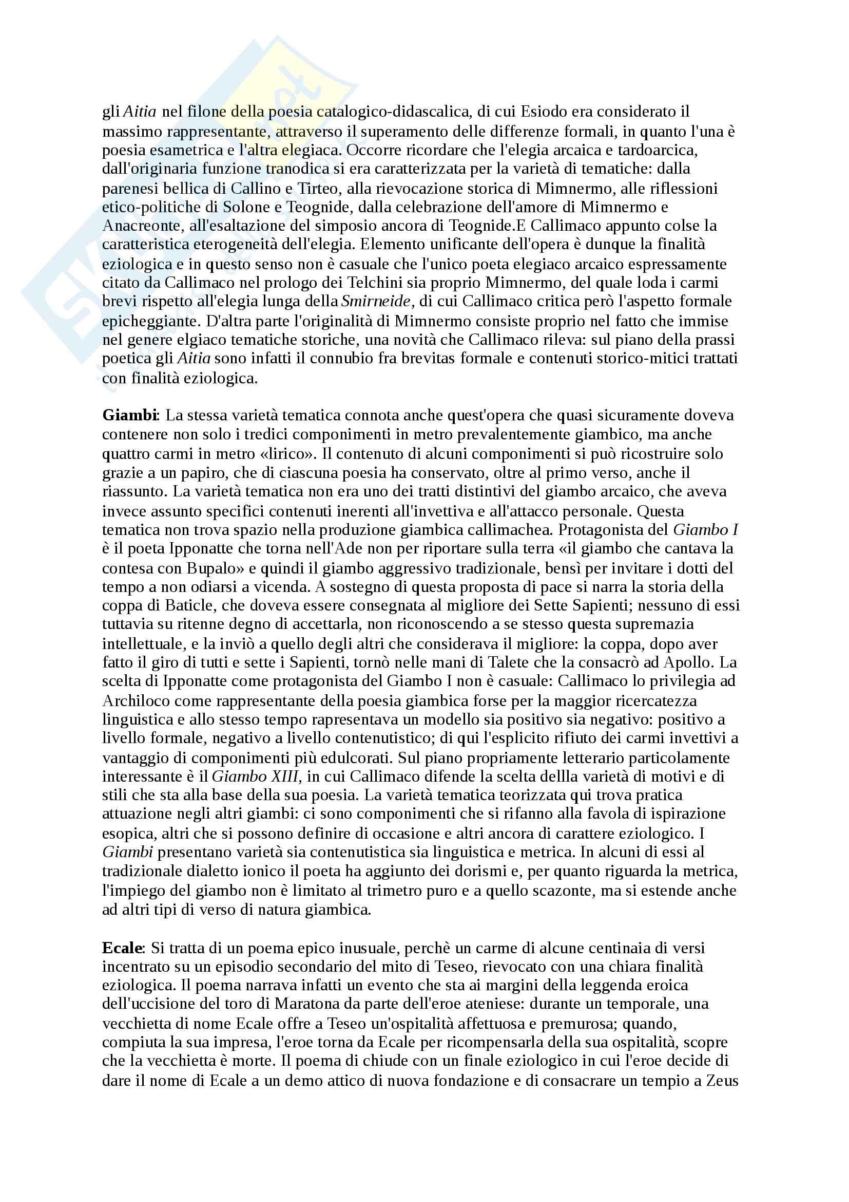 Riassunto esame Letteratura Greca, prof. Cozzoli, libro consigliato Storia e forme della letteratura greca Età ellenistica, Privitera Pretagostini Pag. 11