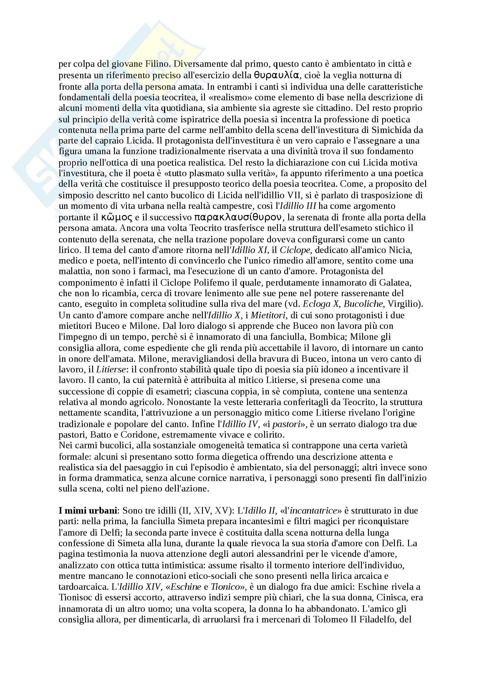 Riassunto esame Letteratura Greca, prof. Cozzoli, libro consigliato Storia e forme della letteratura greca Età ellenistica, Privitera Pretagostini Pag. 21