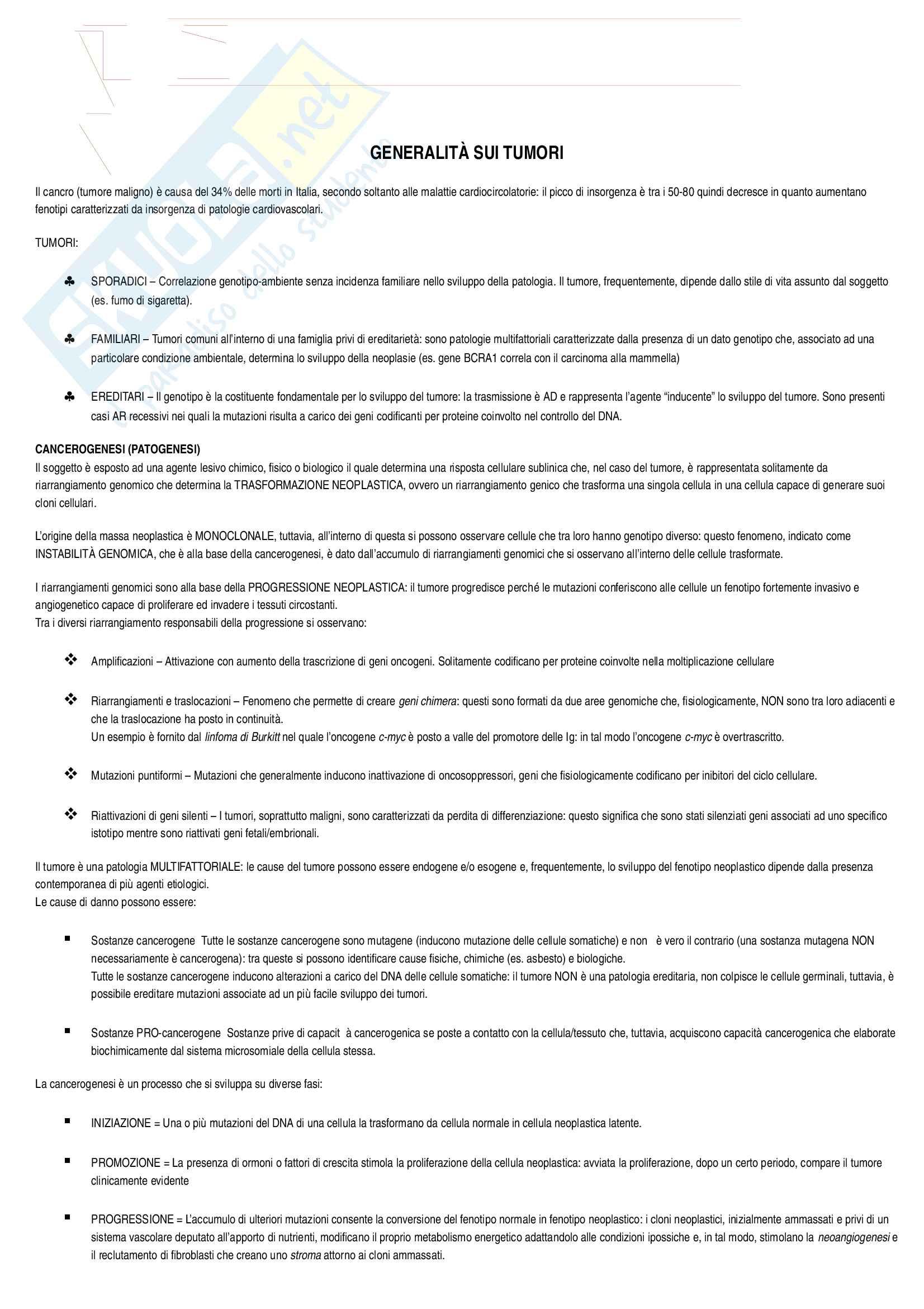 Patologia generale - Oncologia