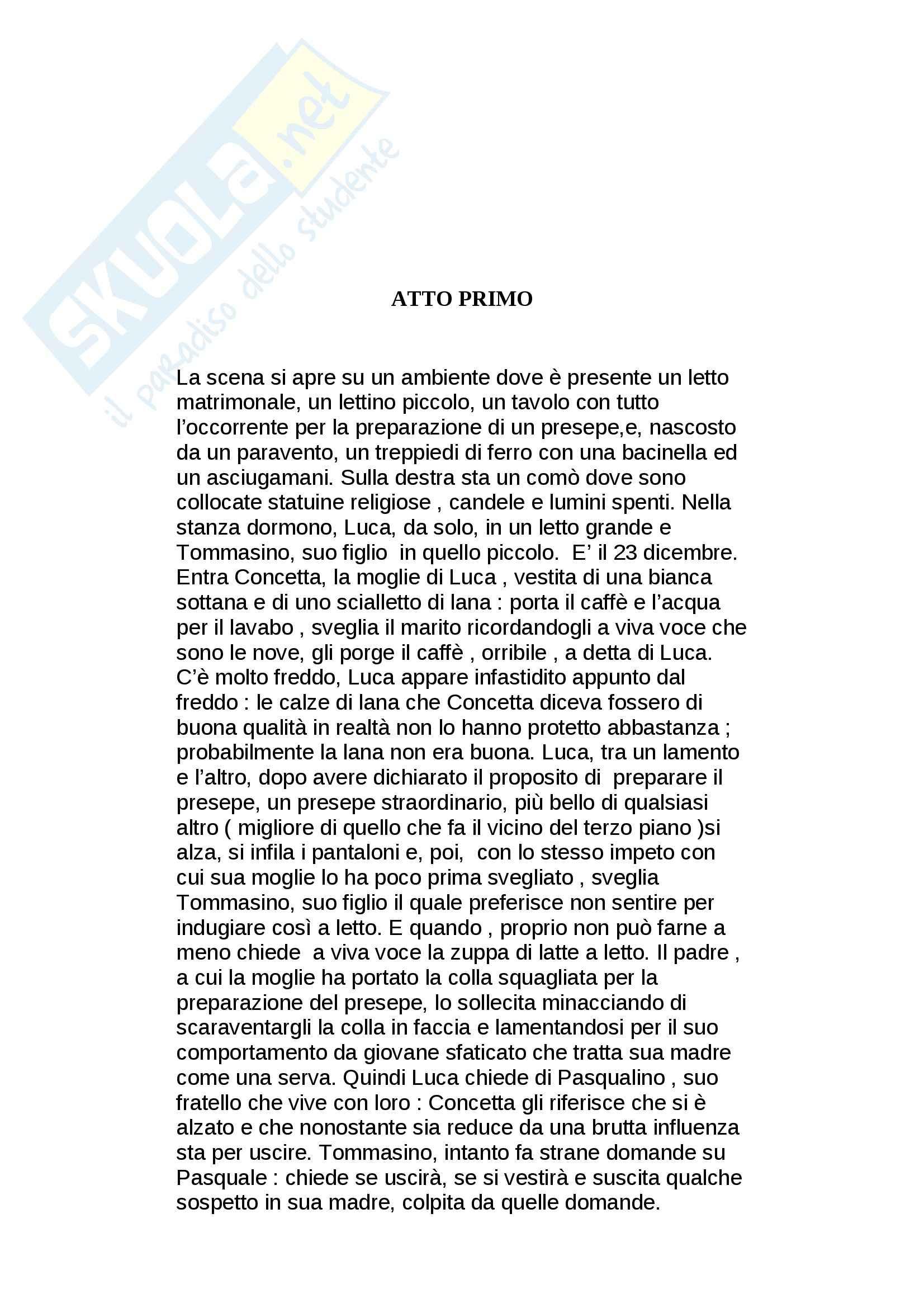 Riassunto esame Letteratura teatrale italiana, prof. Nicastro, libro consigliato Natale in casa Cupiello, De Filippo
