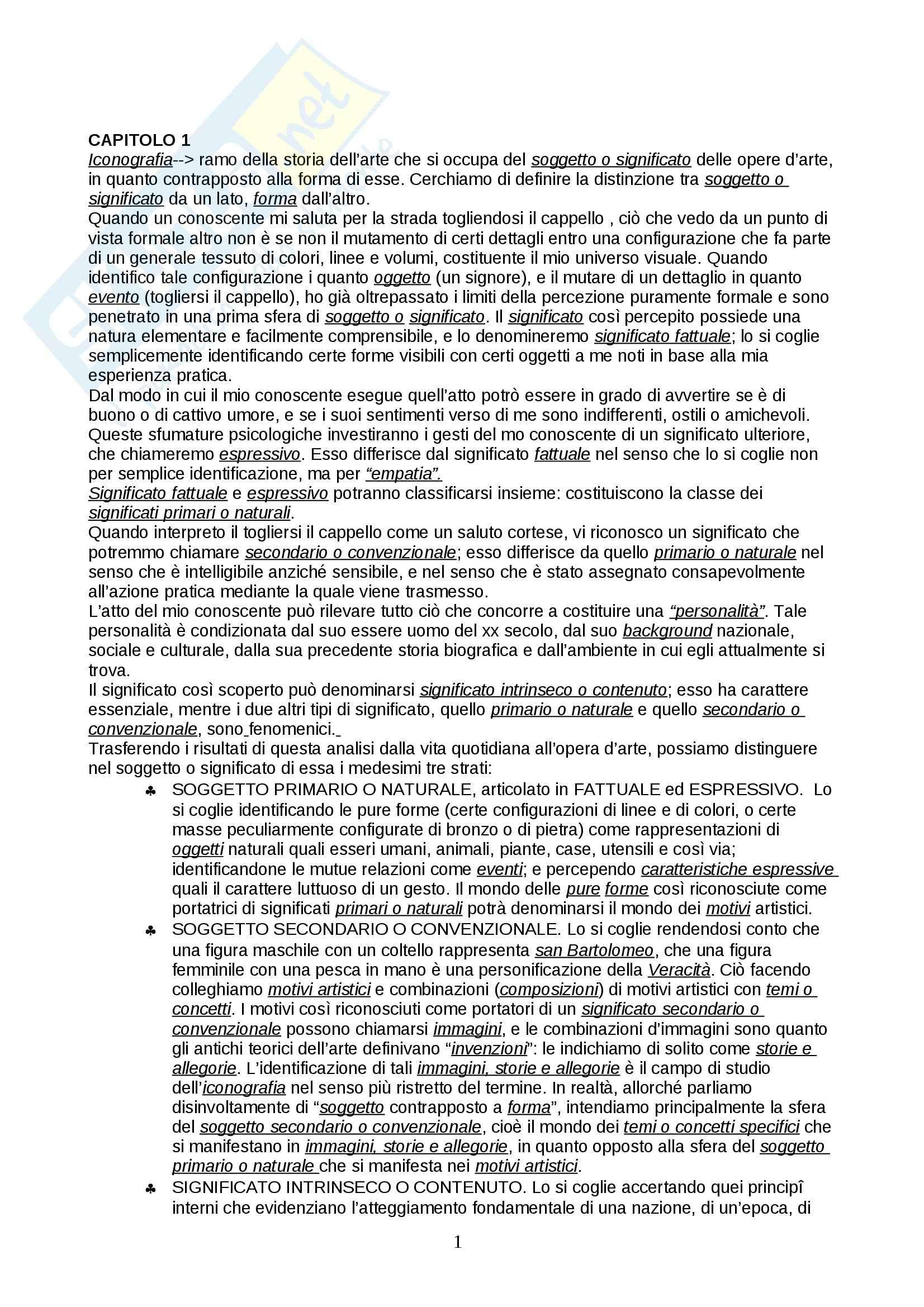 Riassunto esame Museologia e iconografia, prof. Maffei, libro consigliato Studi di iconologia, Panofsky