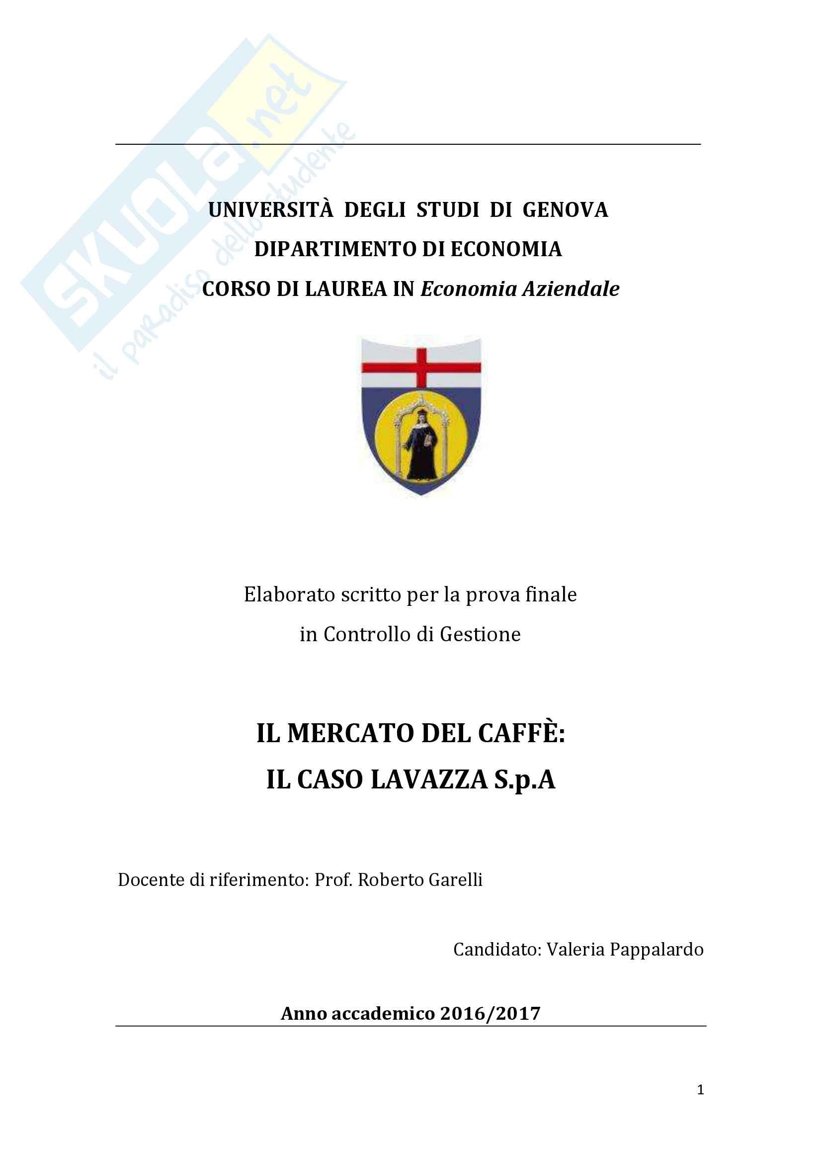 Il mercato del caffè: Il caso Lavazza