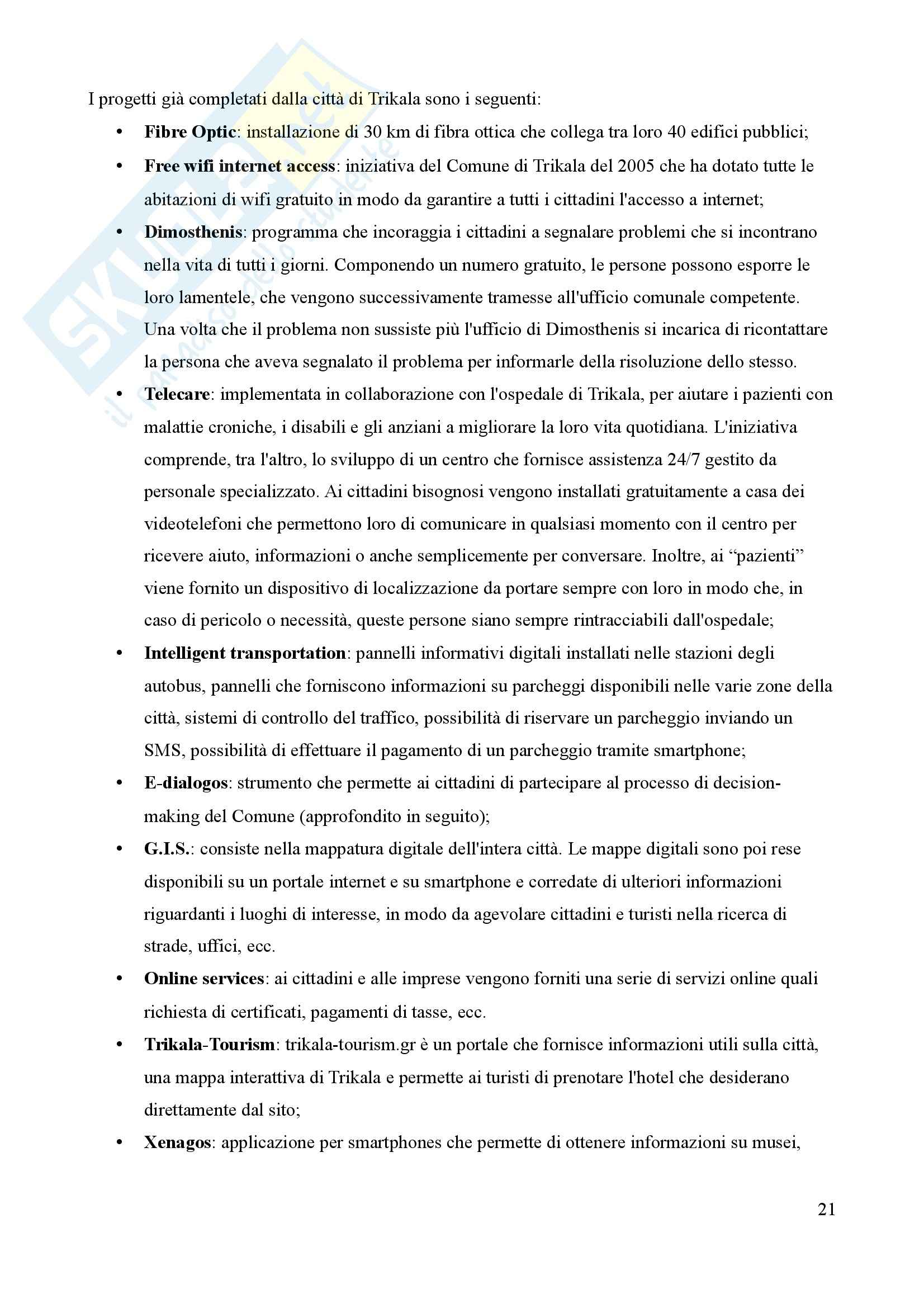 Tesi, Smart Cities: due casi a confronto Pag. 21