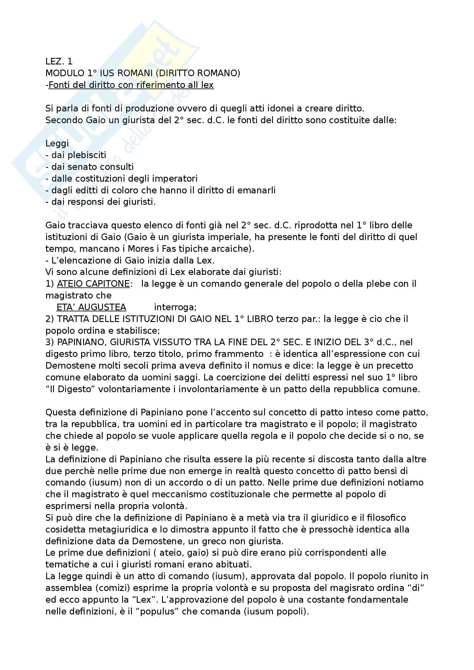 Istituzioni di Diritto romano - sbobinatura videolezioni  del primo modulo del prof Vallocchia