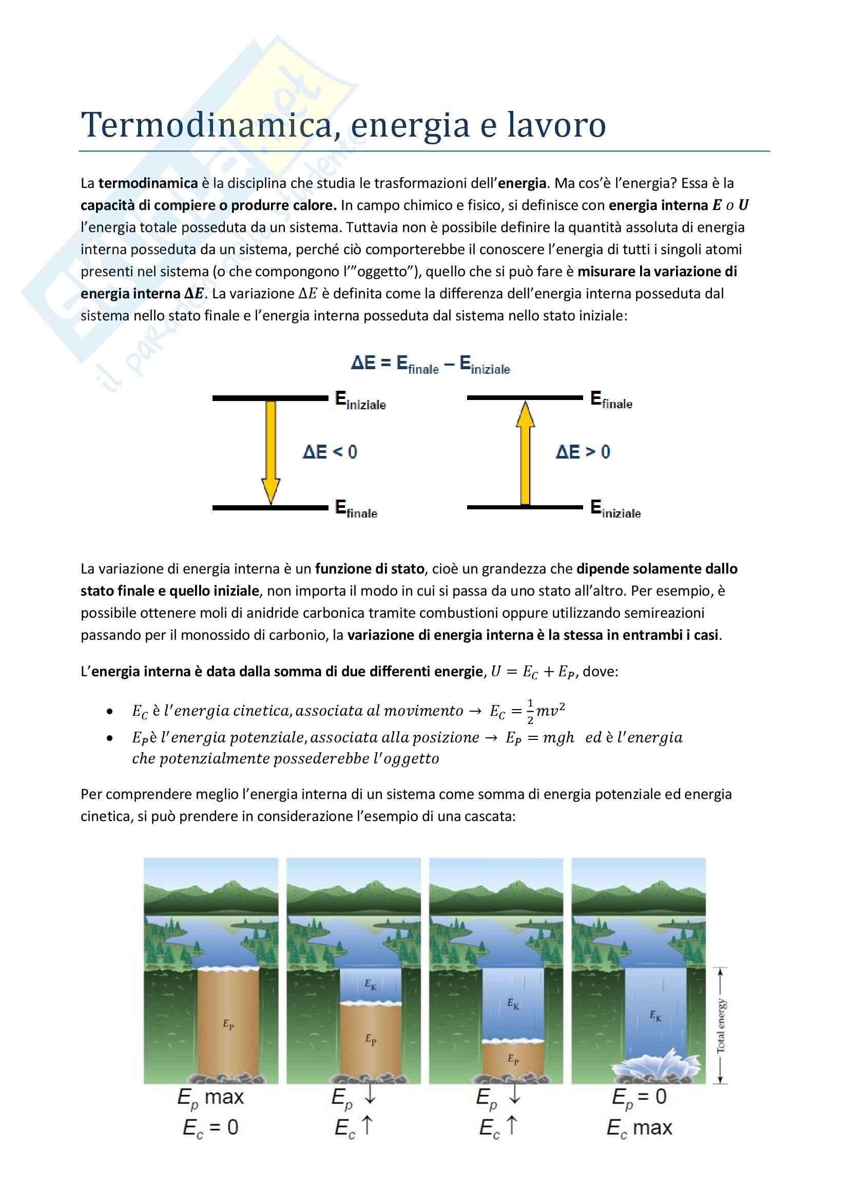 Chimica generale - Termodinamica, energia e lavoro