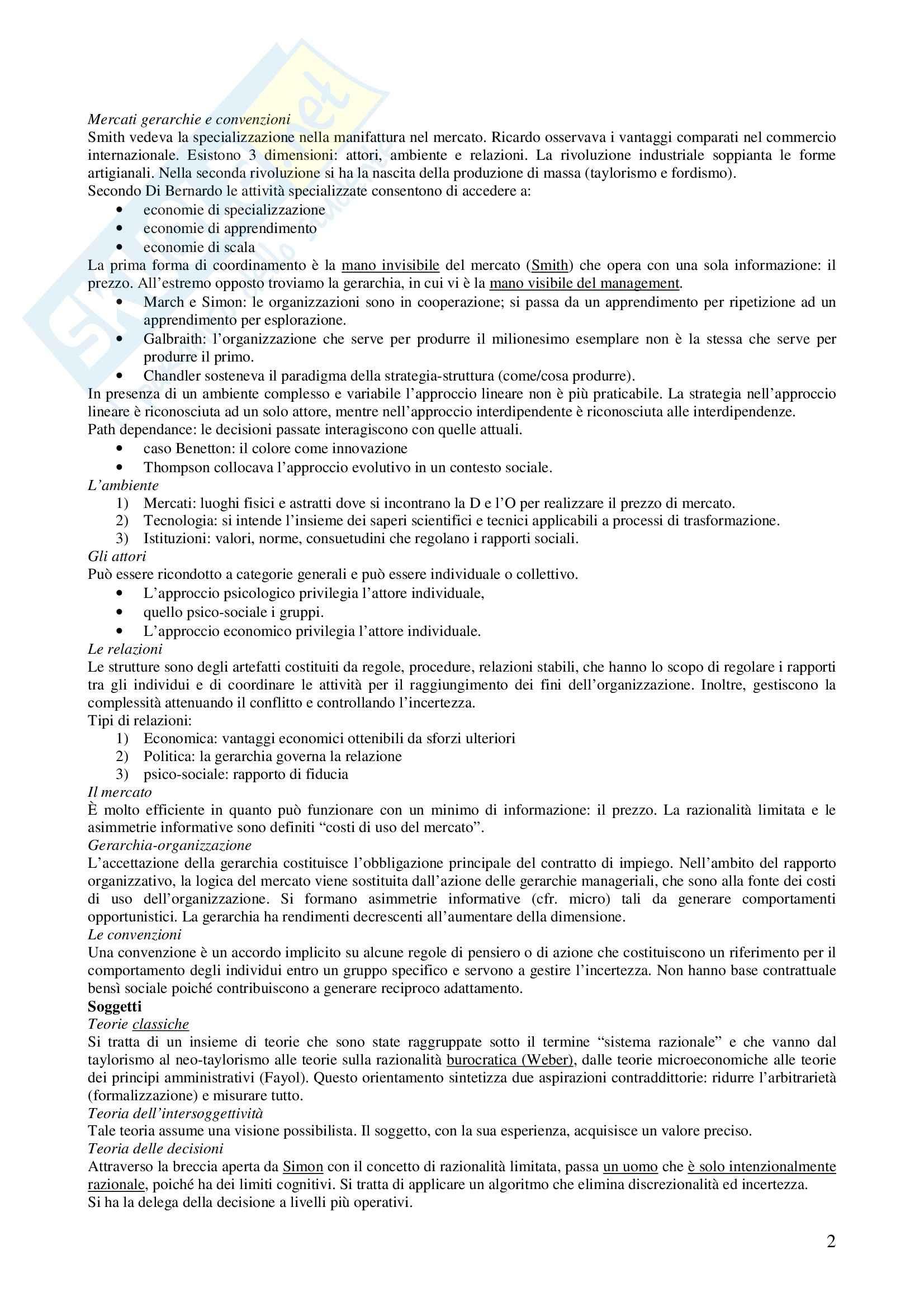Economia ed organizzazione aziendale - come studiare le organizzazioni Pag. 2