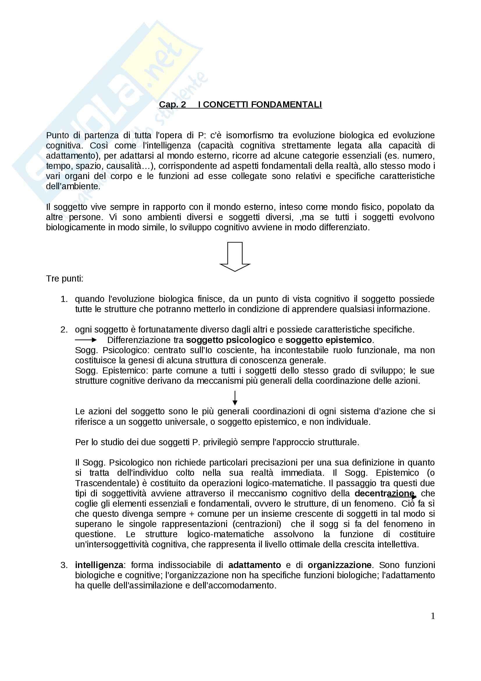 Riassunto esame Psicologia dello sviluppo, prof. Gattico, libro consigliato Jean Piaget