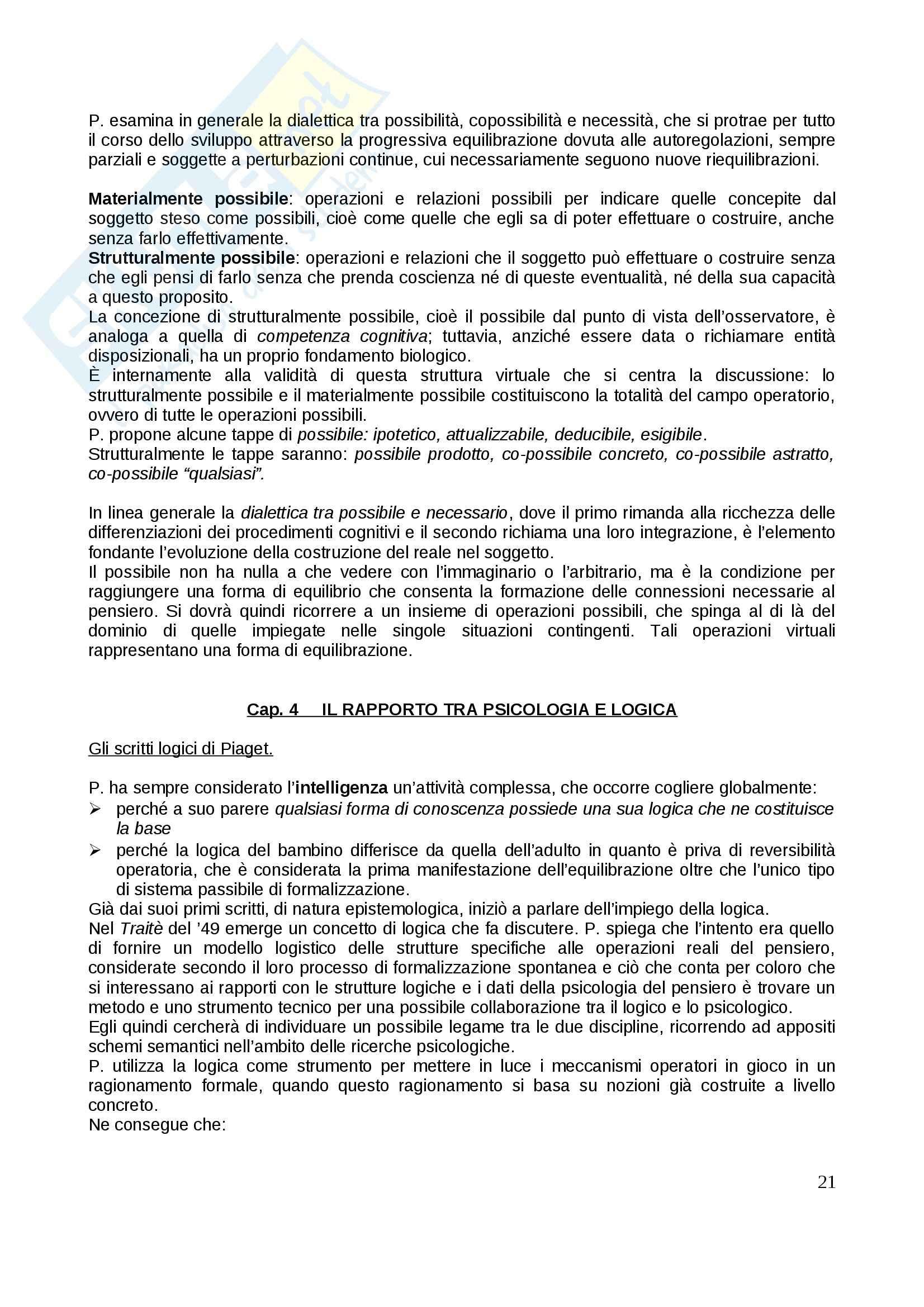 Riassunto esame Psicologia dello sviluppo, prof. Gattico, libro consigliato Jean Piaget Pag. 21