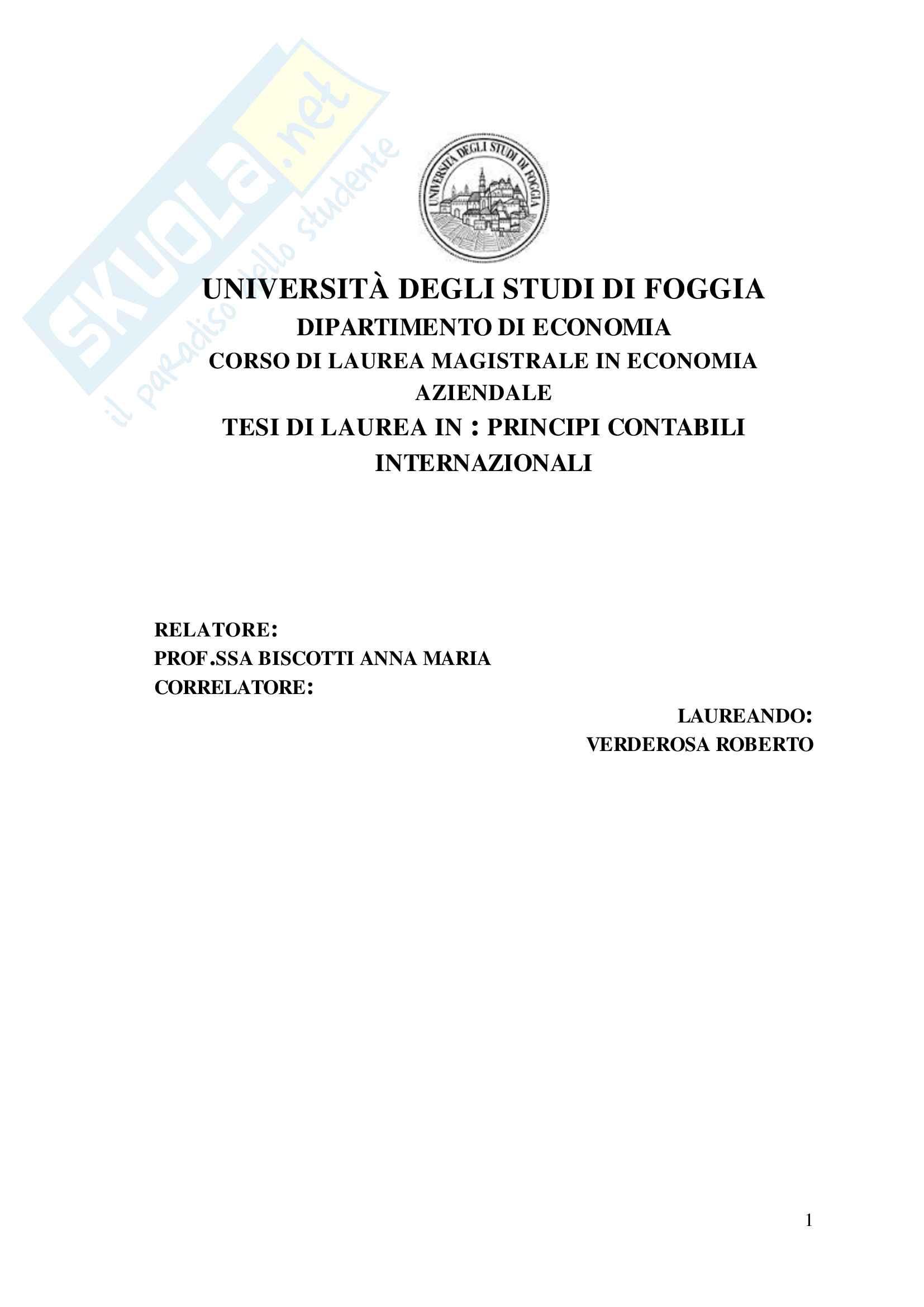 tesi A. Biscotti Principi contabili internazionali