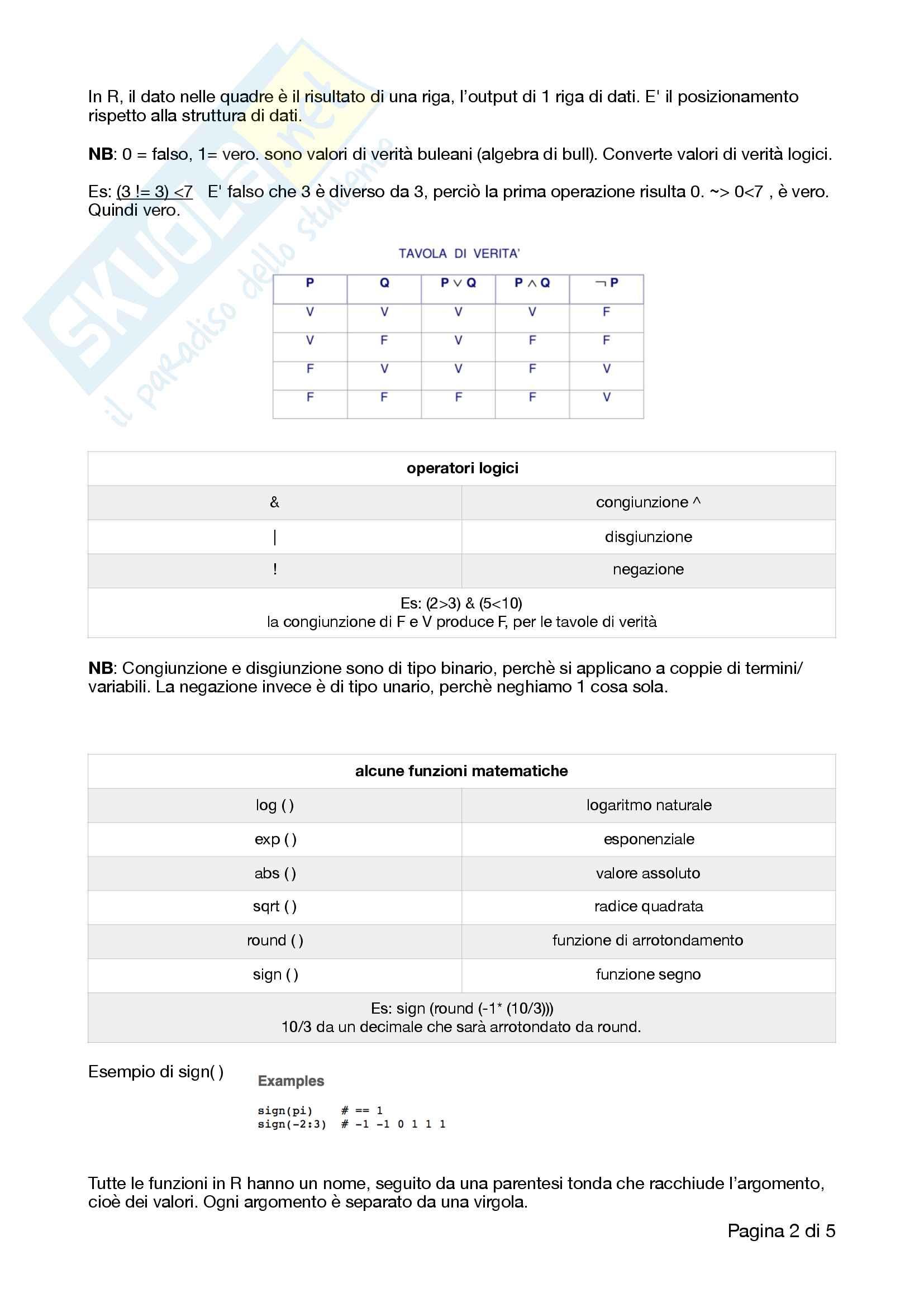 Appunti completi e ottimi di analisi dei dati, R, RStudio e correlati con esempi e esercizi Pag. 2