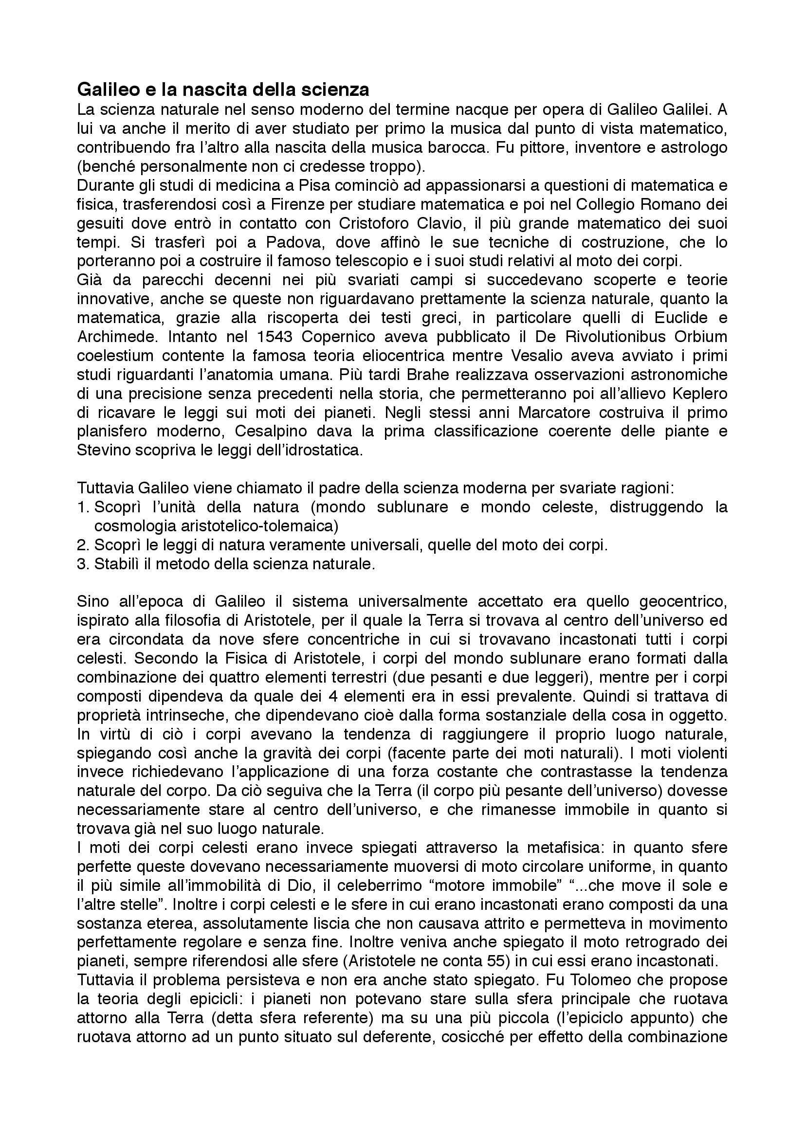 Riassunto esame Filosofia della Scienza, prof. Musso, libro consigliato La Scienza e l'Idea di Ragione