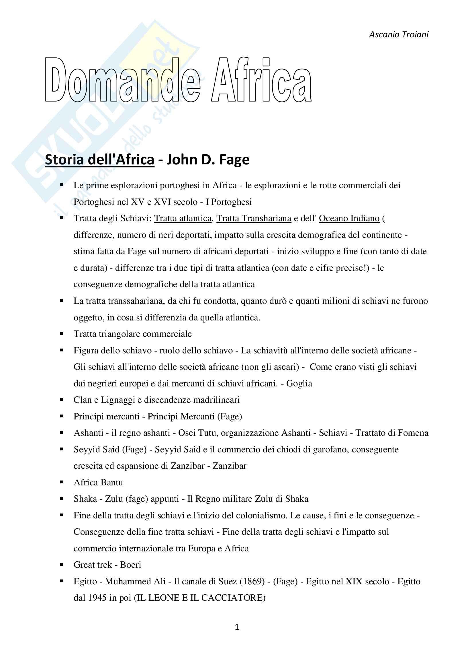 Domande schematizzate Esame di Storia e Istituzioni dell'Africa, Volterra