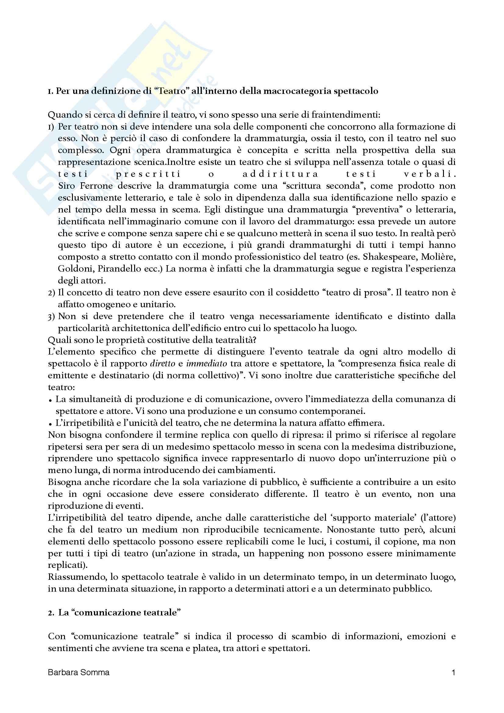 Riassunto esame Fondamenti di teatro, prof. Garavaglia, libro consigliato Teatro e spettacolo nella società multimediale