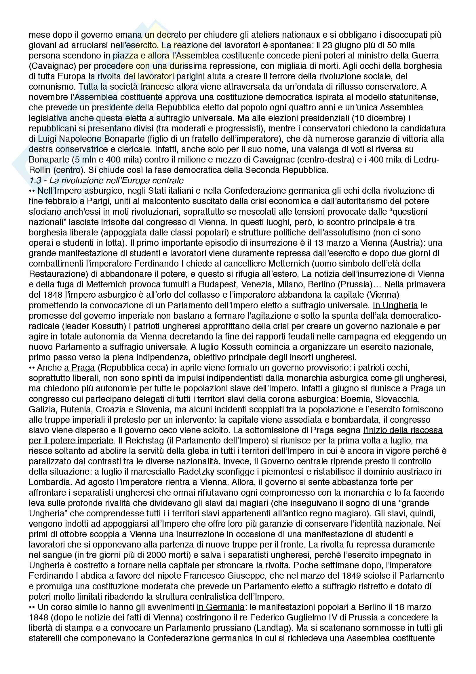Riassunto esame Istituzioni di storia contemporanea, prof.  Roccucci, libro consigliato Il mondo contemporaneo - dal 1848 a oggi, Sabbatucci, Vidotto Pag. 2