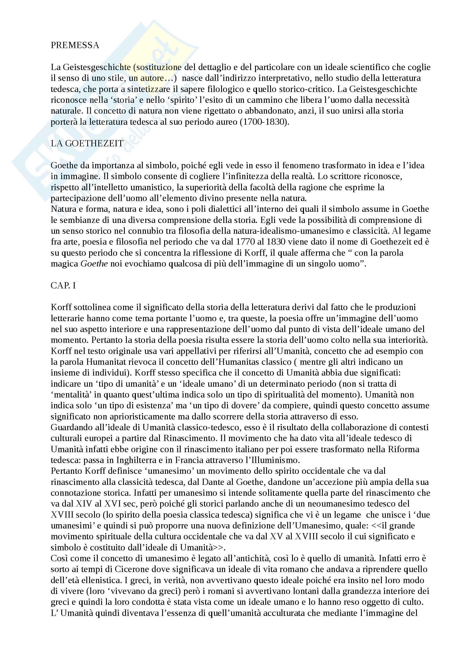 Riassunto esame Letterature comparate, prof. Moretti, libro consigliato L' età di Goethe, Korff