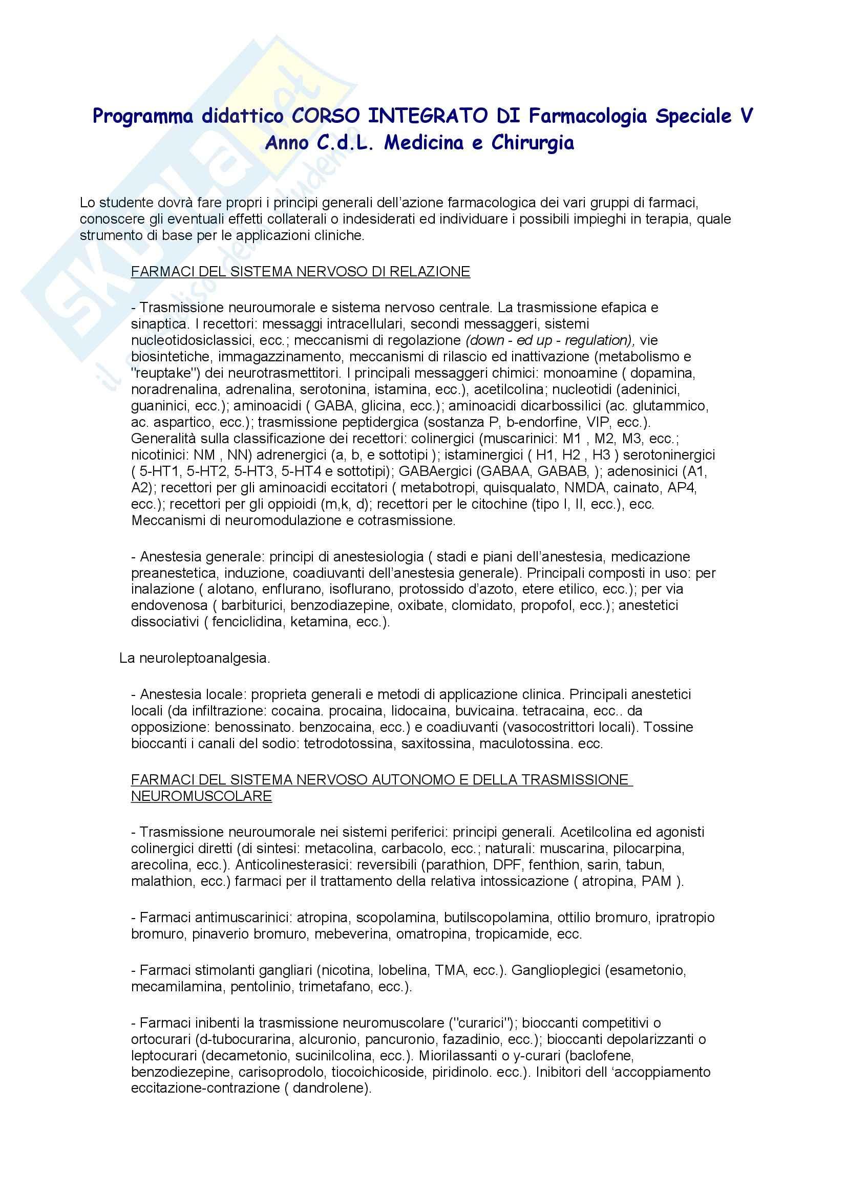 Farmacologia - Programma speciale 5 Anno