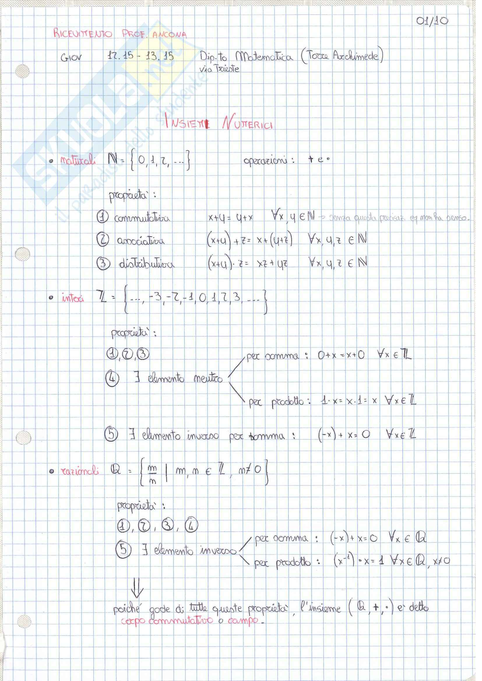 Analisi 1, Appunti Intero Corso