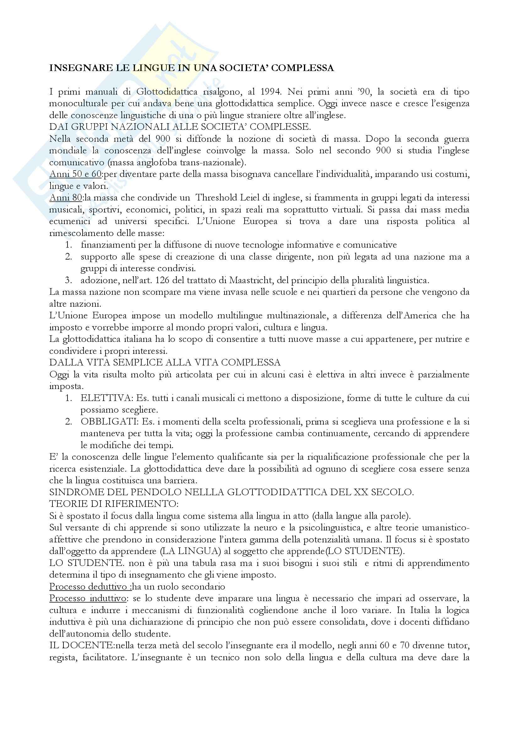 Riassunto esame Linguistica informatica, prof. Di Sparti, libro consigliato Le sfide di Babele, Balboni