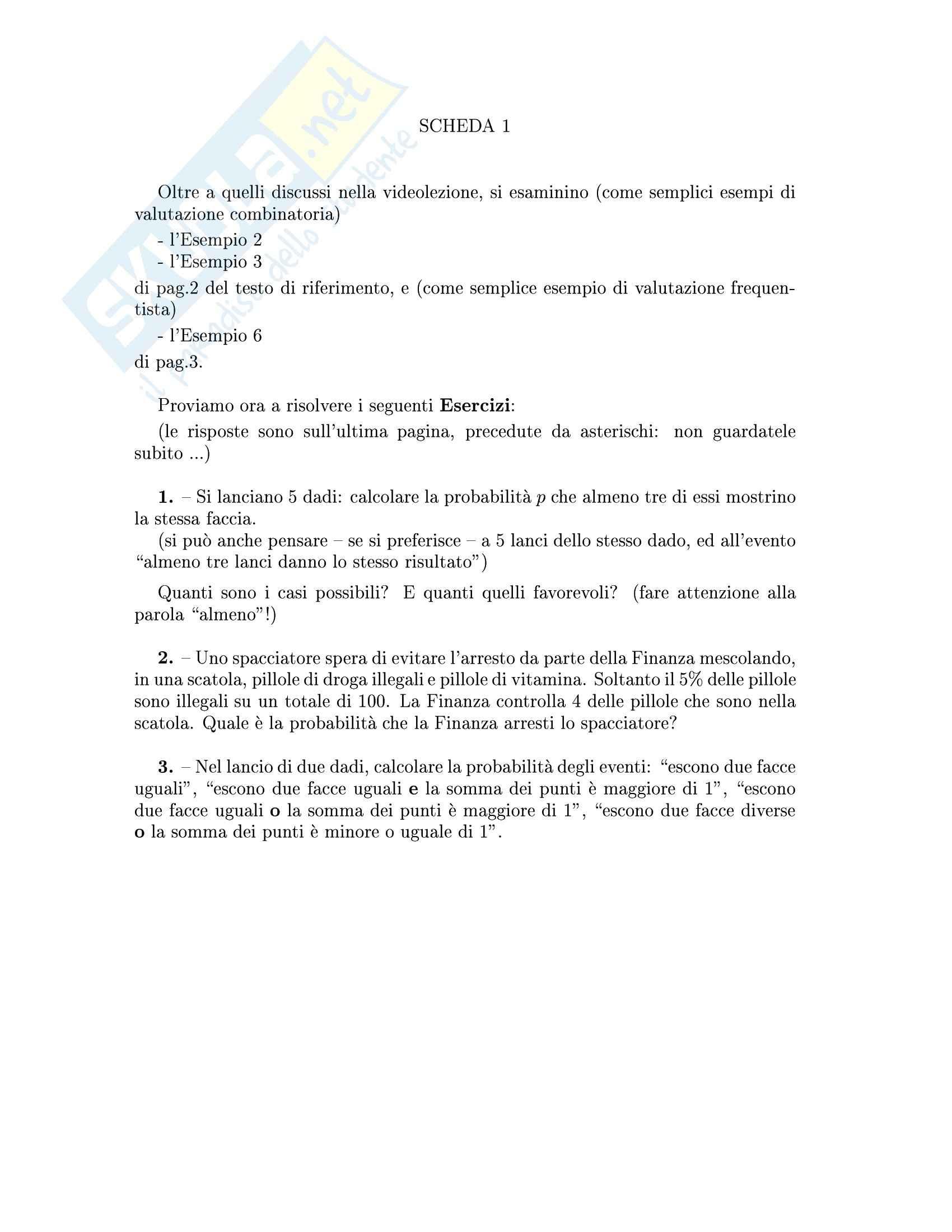 Complementi di analisi matematica per l'ingegneria informatica - calcolo delle probabilità con soluzioni
