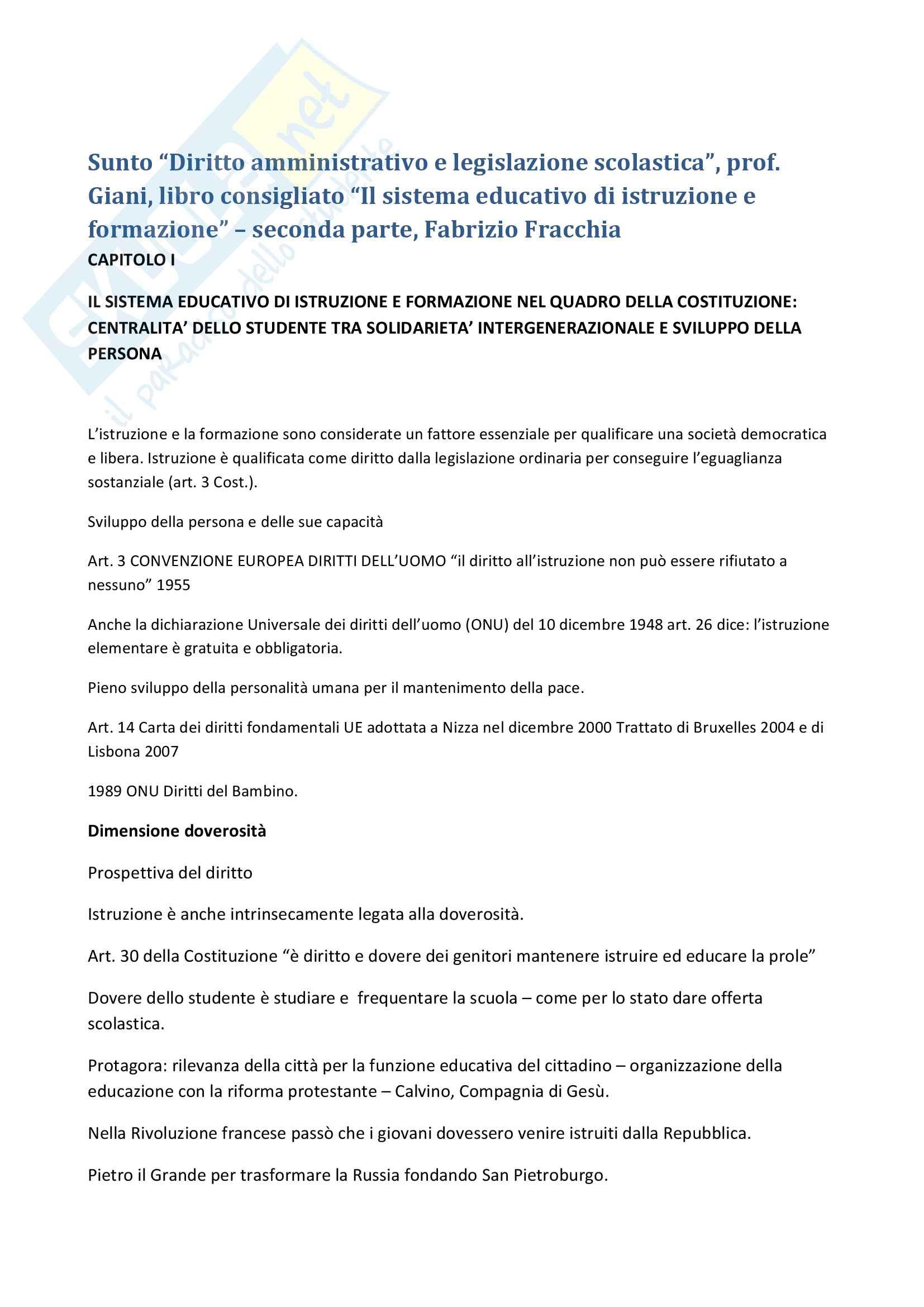 """Riassunto esame """"Diritto amministrativo e legislazione scolastica"""", prof. Giani, libro consigliato """"Il sistema educativo di istruzione e formazione"""" – seconda parte, Fabrizio Fracchia"""