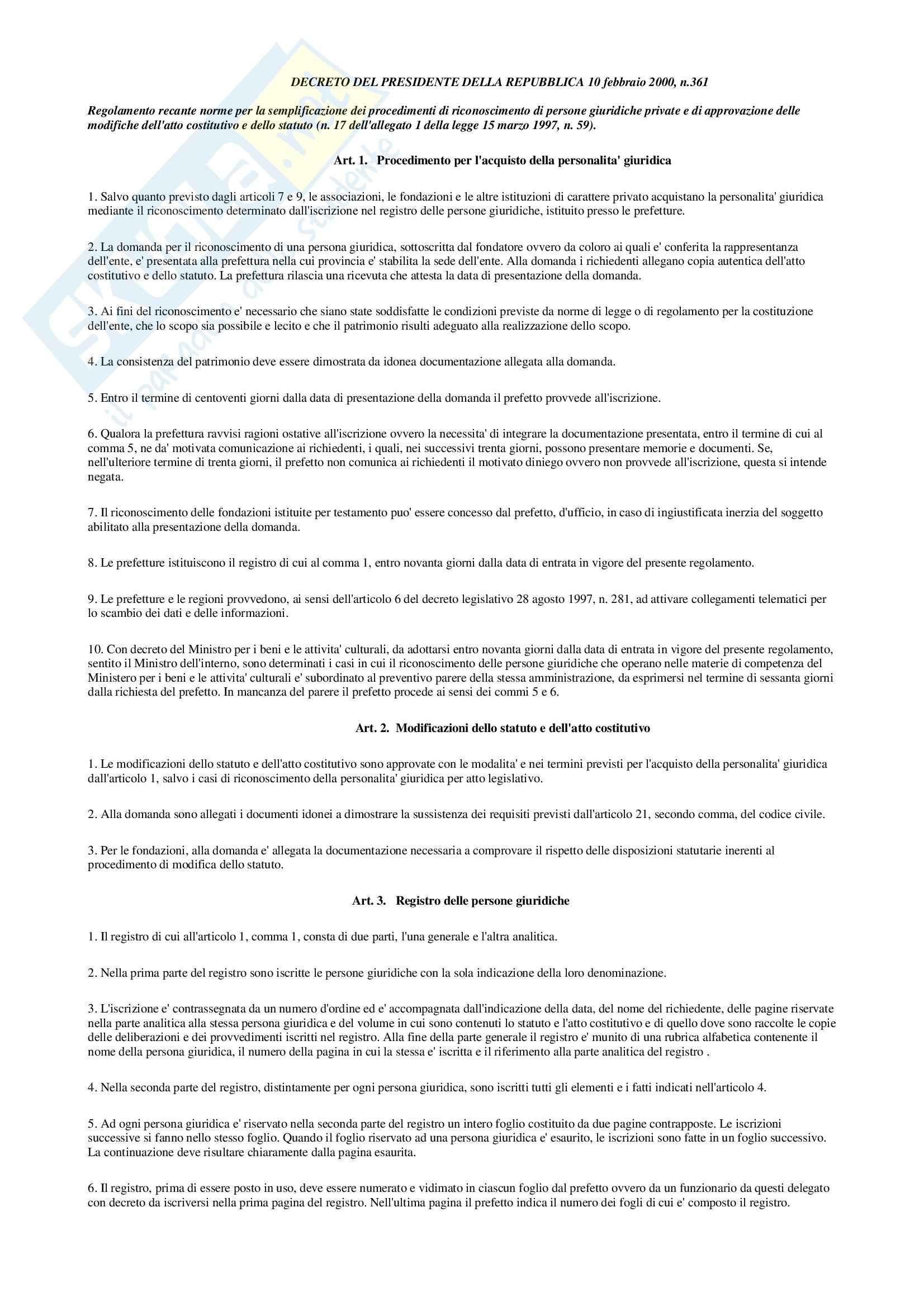 Diritto ecclesiastico - Decreto 10 febbraio 2000, n.361