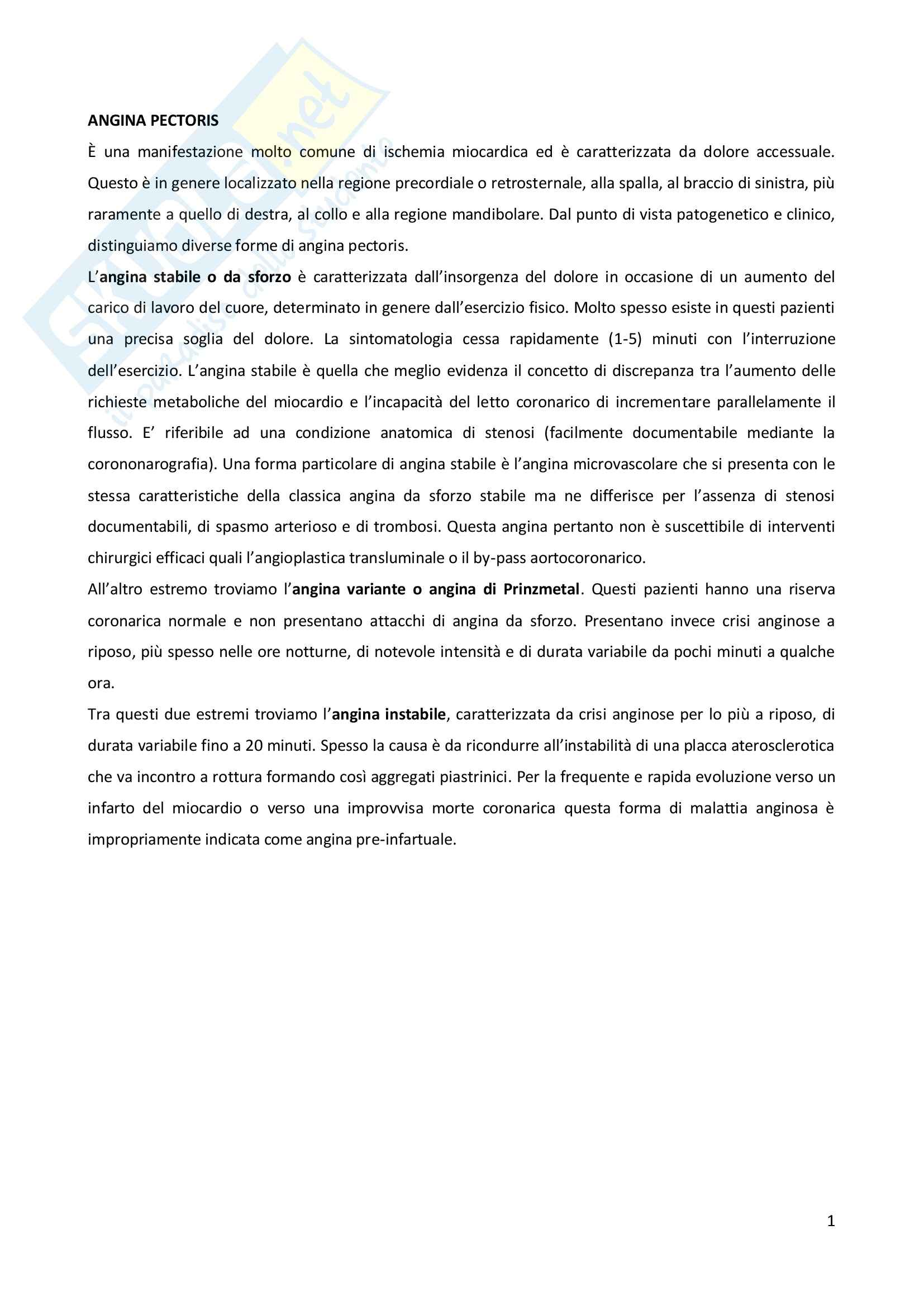 Patologia generale - l'angina pectoris