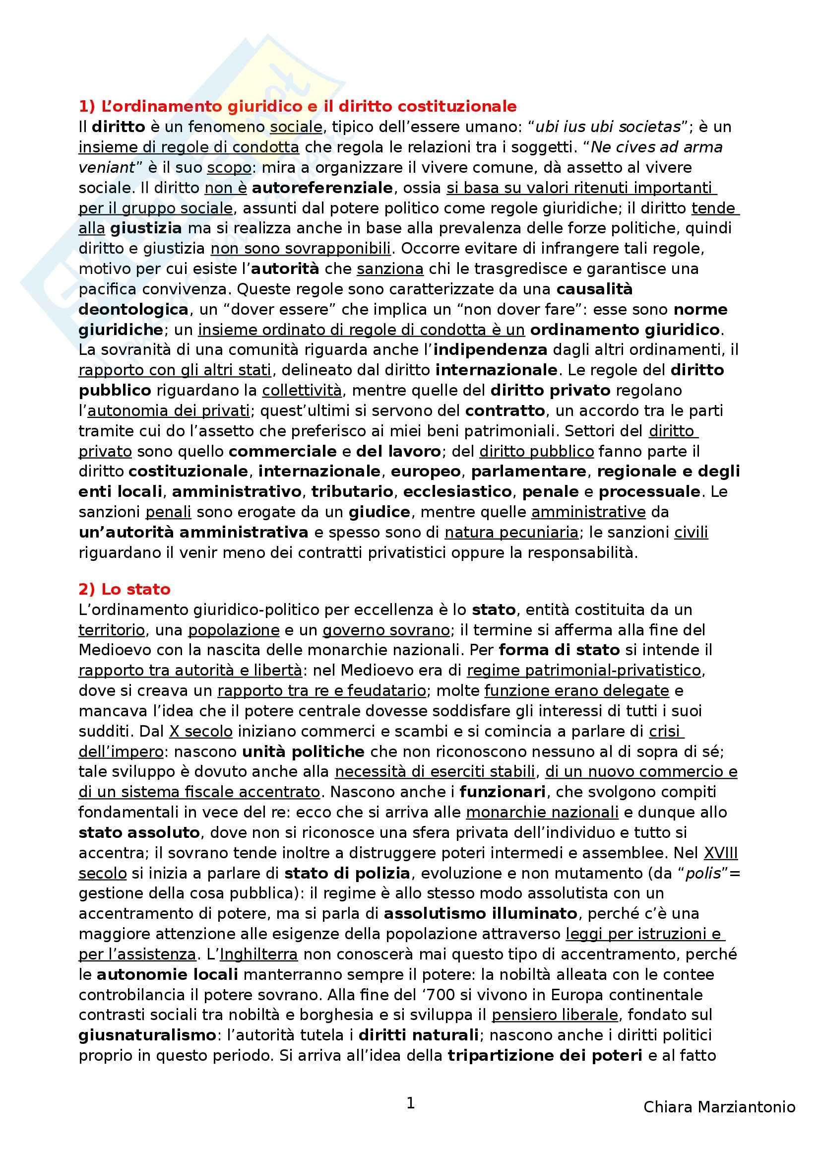 Riassunto esame Istituzioni di Diritto Pubblico, prof. Corsi, libro consigliato Corso di Diritto Pubblico, Barbera, Fusaro