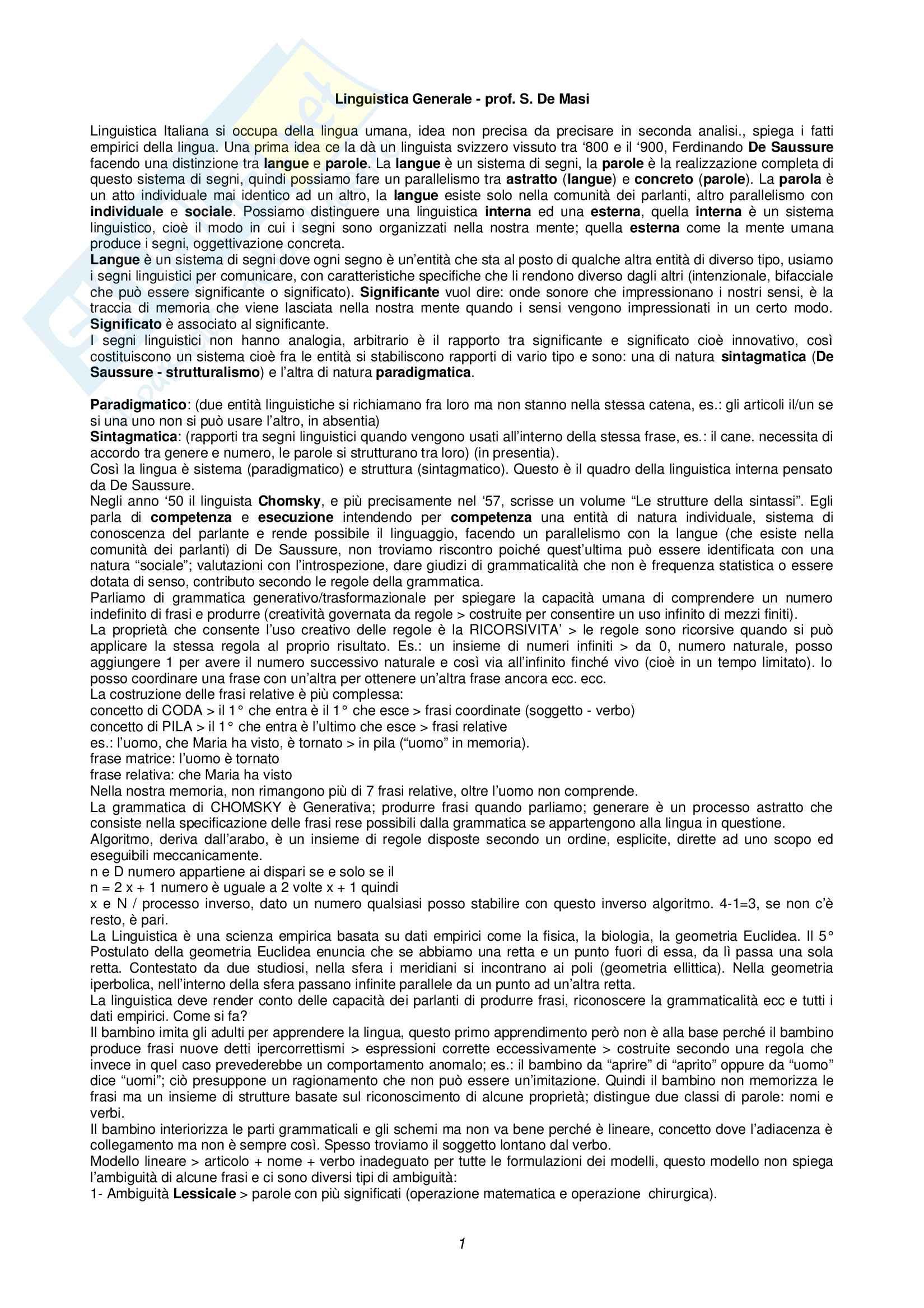 Appunti di Linguistica Generale (Parte 1)