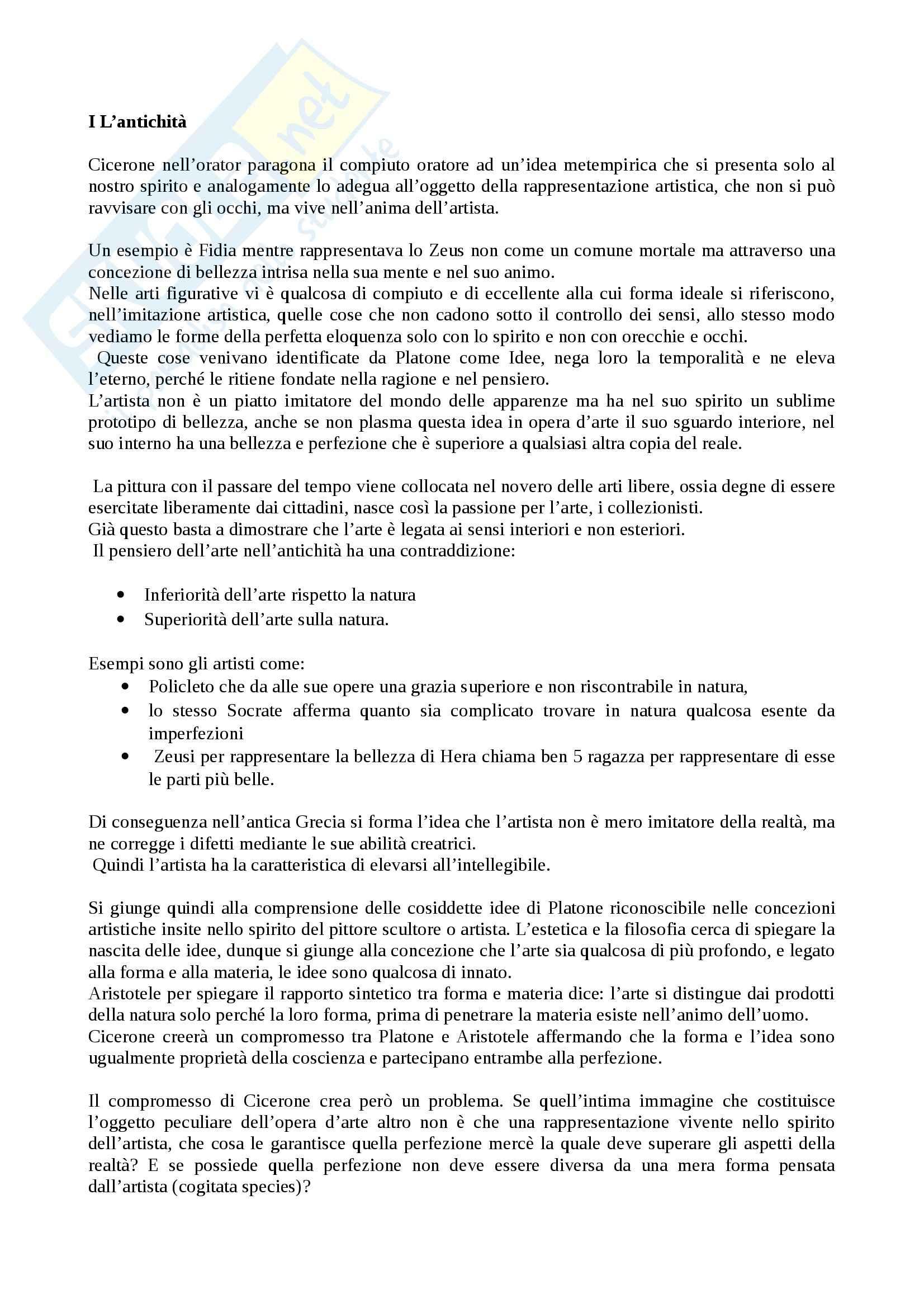 Riassunto esame Linguaggi dell'arte contemporanea, prof Negri, libro consigliato:IDEA, un contributo alla storia dell'estetica , Panofscky