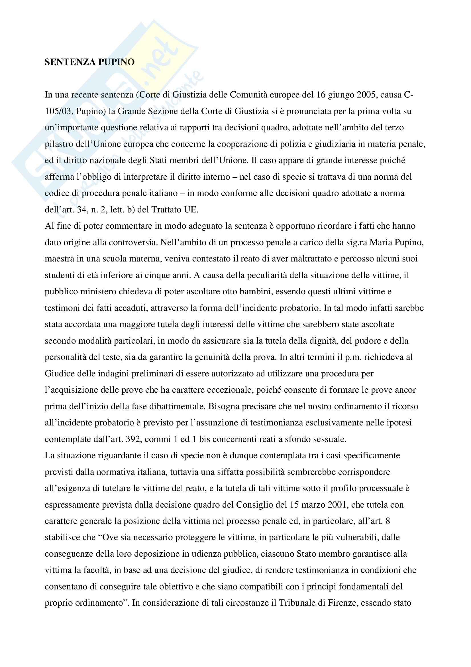 Riassunto esame Diritto, prof. Parisi, libro consigliato Diritto Unione Europea: sentenze, Daniele