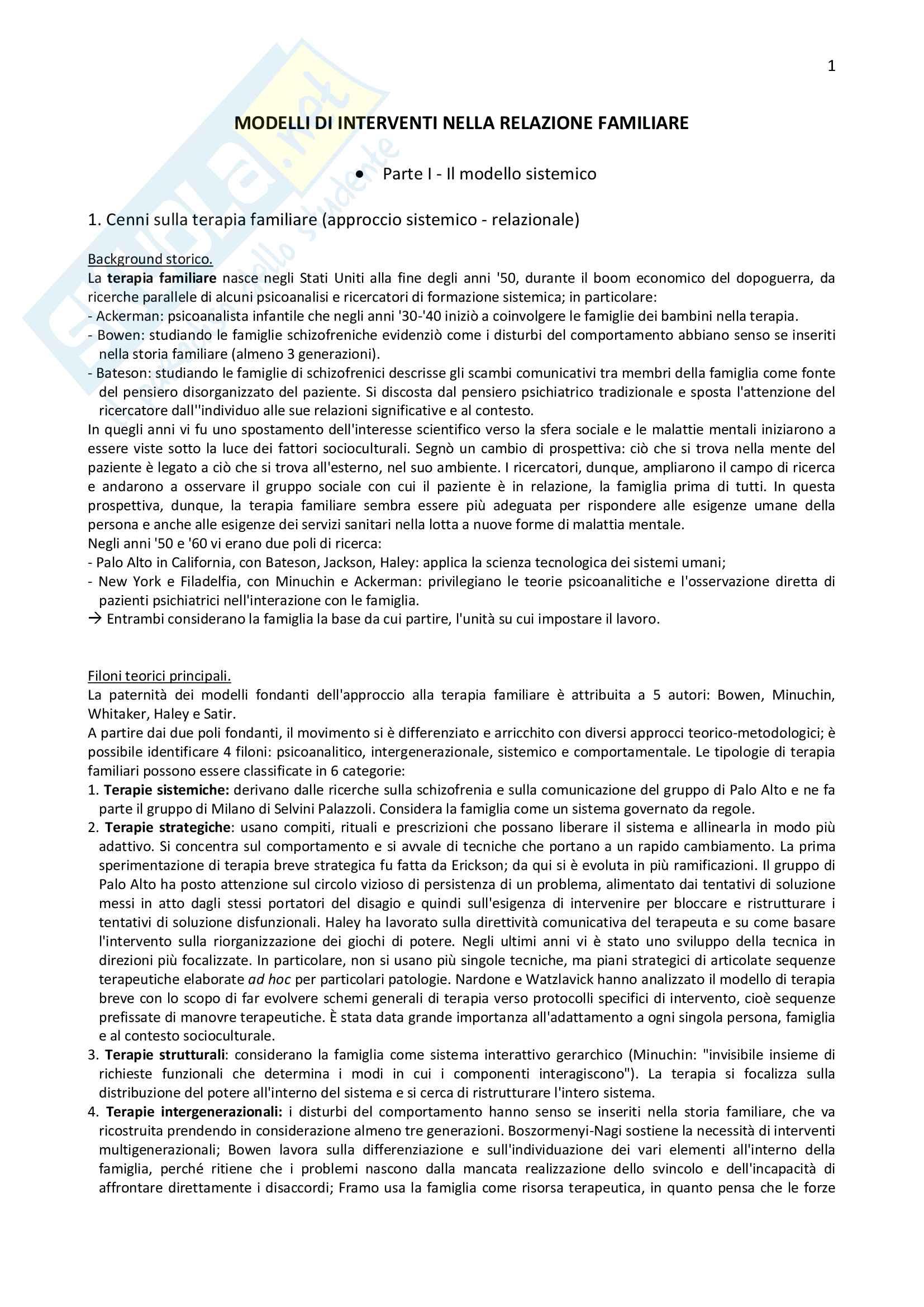 Riassunto per l'esame di Normalità e patologia delle relazioni familiari della prof.ssa Carli,  libro consigliato Modelli di intervento nella relazione familiare