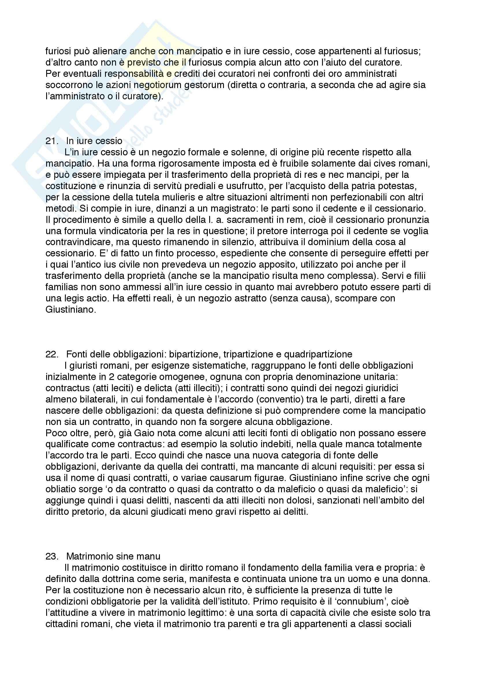Diritto privato romano - 100 Domande e Risposte - Programma completo - Università di Torino Pag. 11